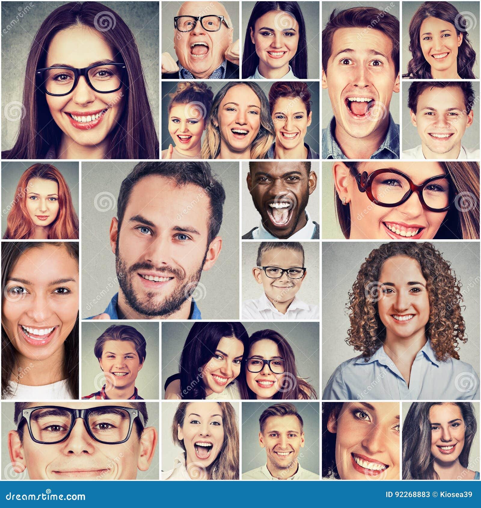 Grupo multiétnico de hombres y de mujeres sonrientes felices de la gente