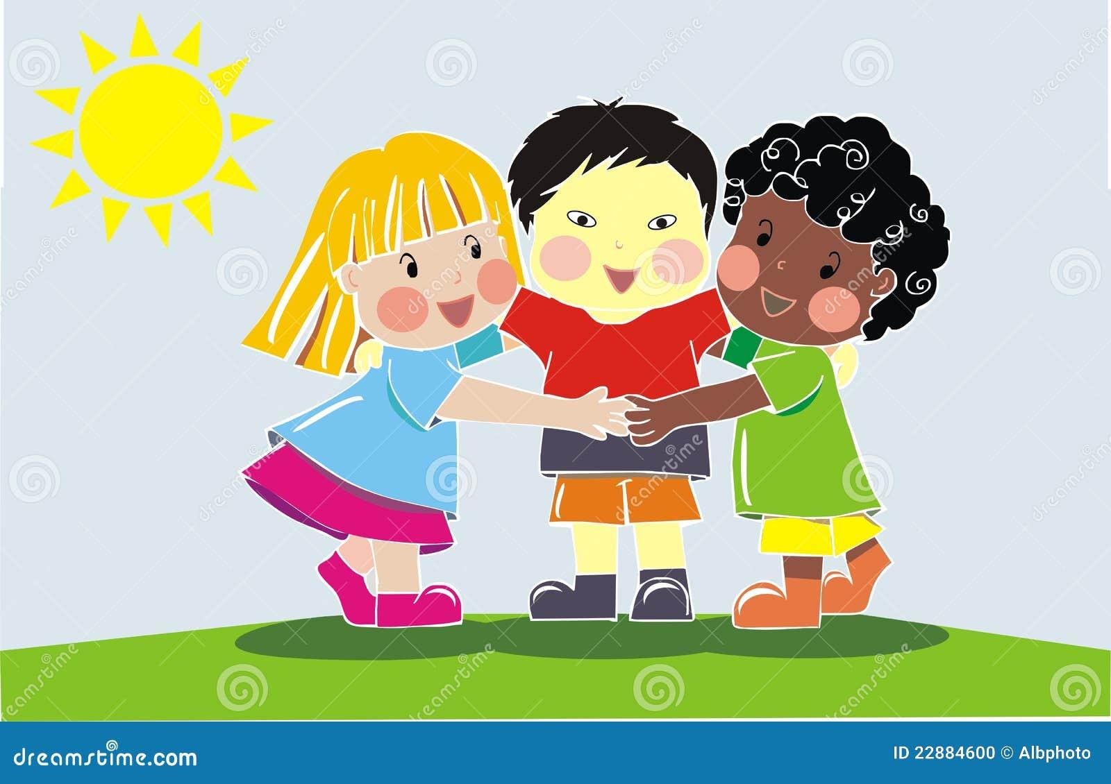Grupo multi-étnico de amigos