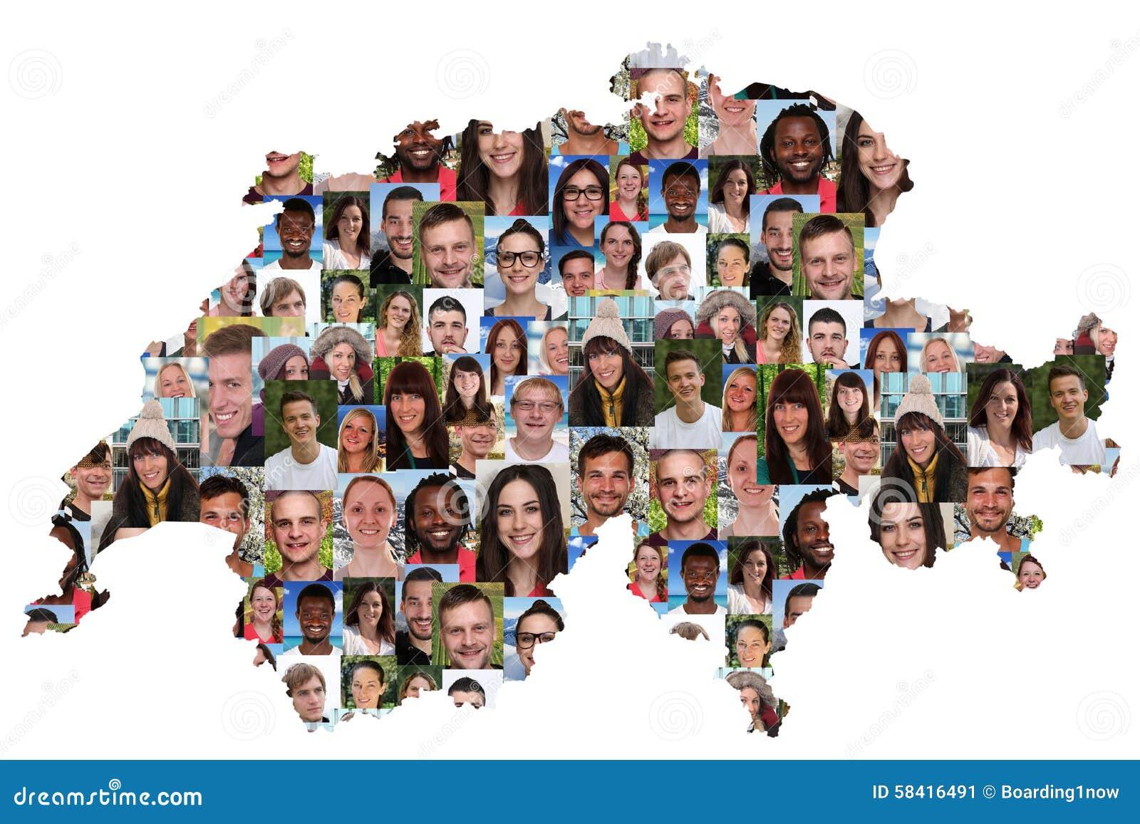 Grupo multicultural del mapa de Suiza de integración de la gente joven
