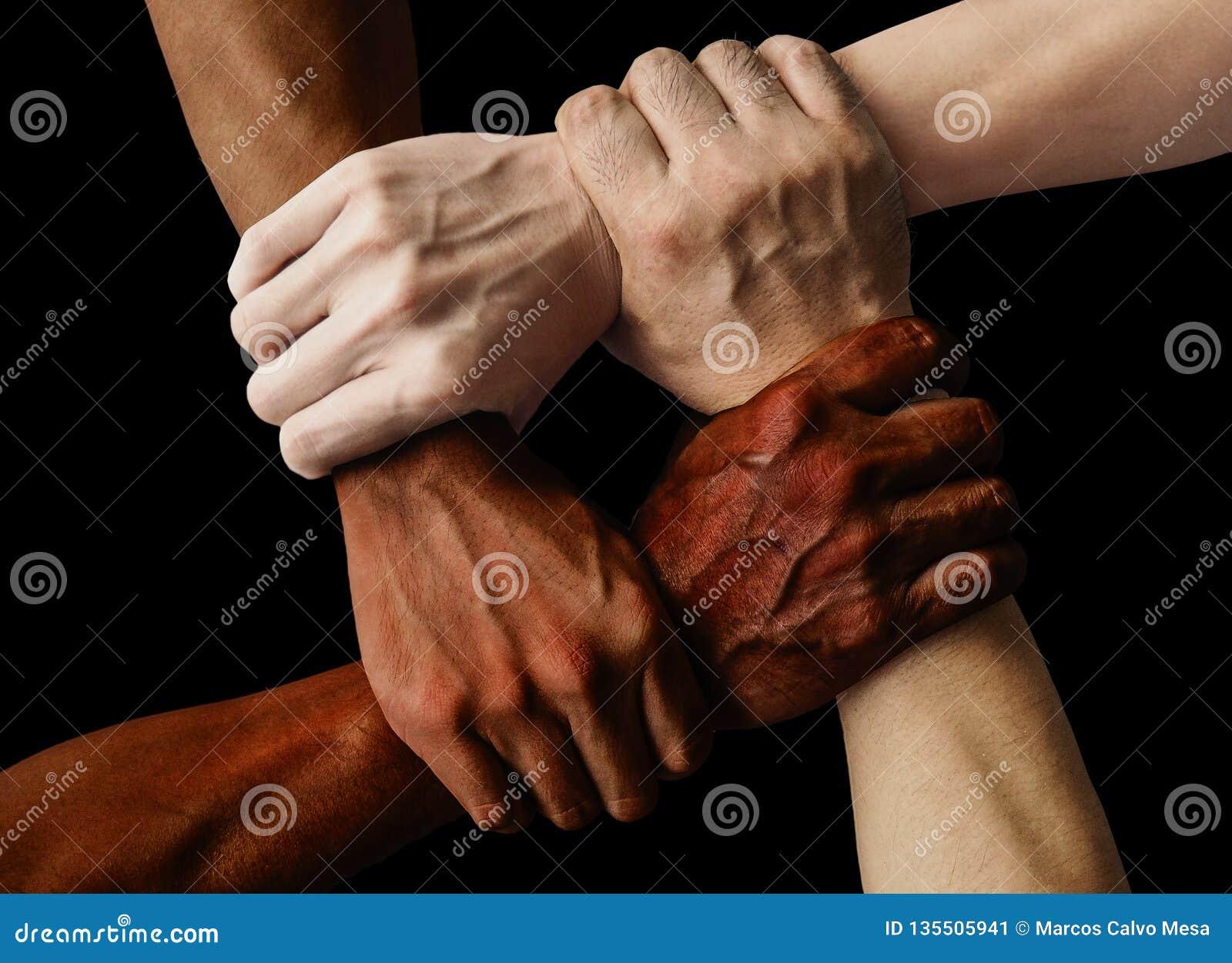Grupo multirracial con las manos caucásicas y asiáticas afroamericanas negras que se detienen muñeca en amor de la unidad de la t