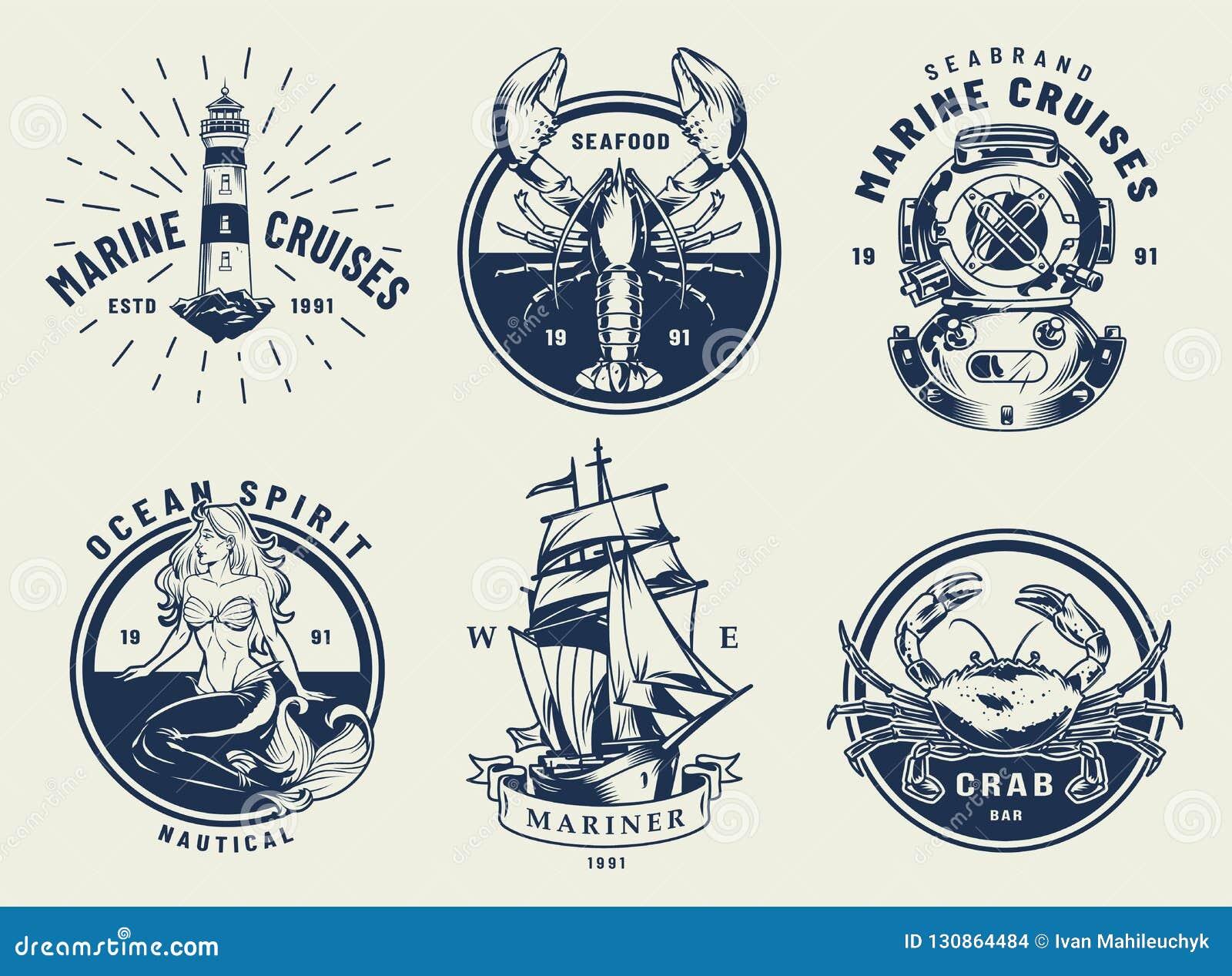 Grupo náutico monocromático dos emblemas do vintage