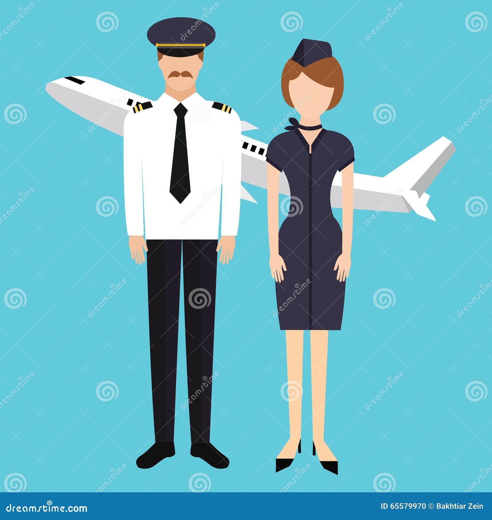 Grupo piloto da cabine do comparecimento do voo da comissária de bordo no plano uniforme