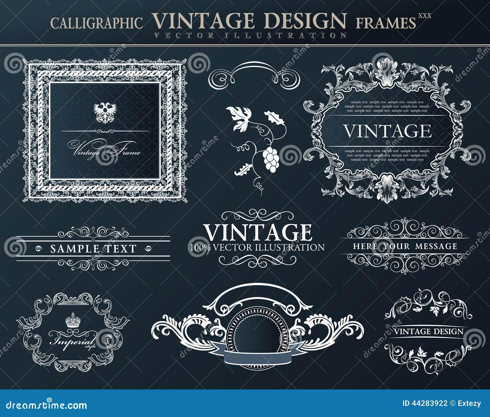 Grupo preto do ornamento dos quadros do vintage Decoração do elemento do vetor