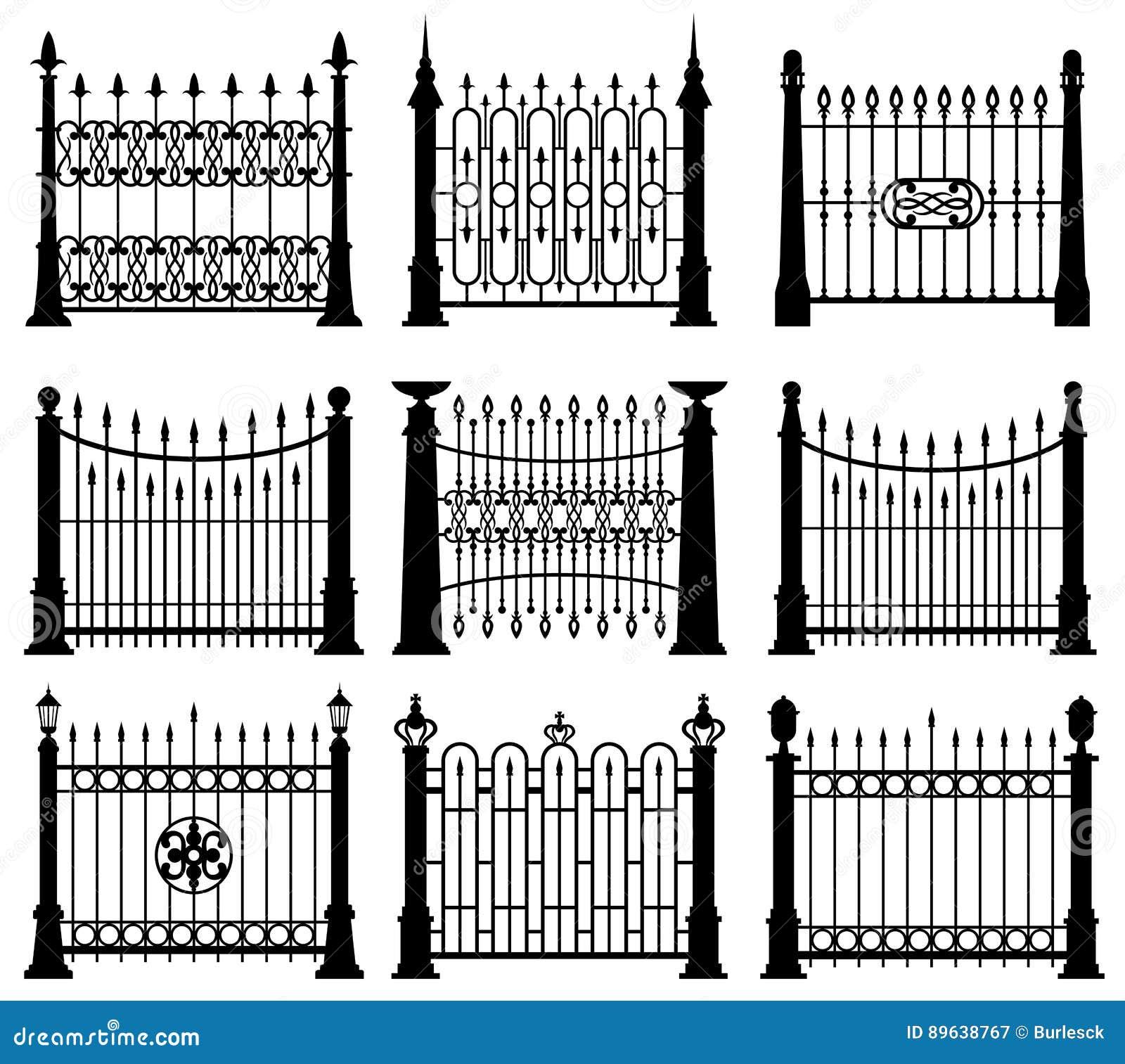 Grupo preto e branco do vetor dos elementos da arquitetura das portas e das cercas do ferro