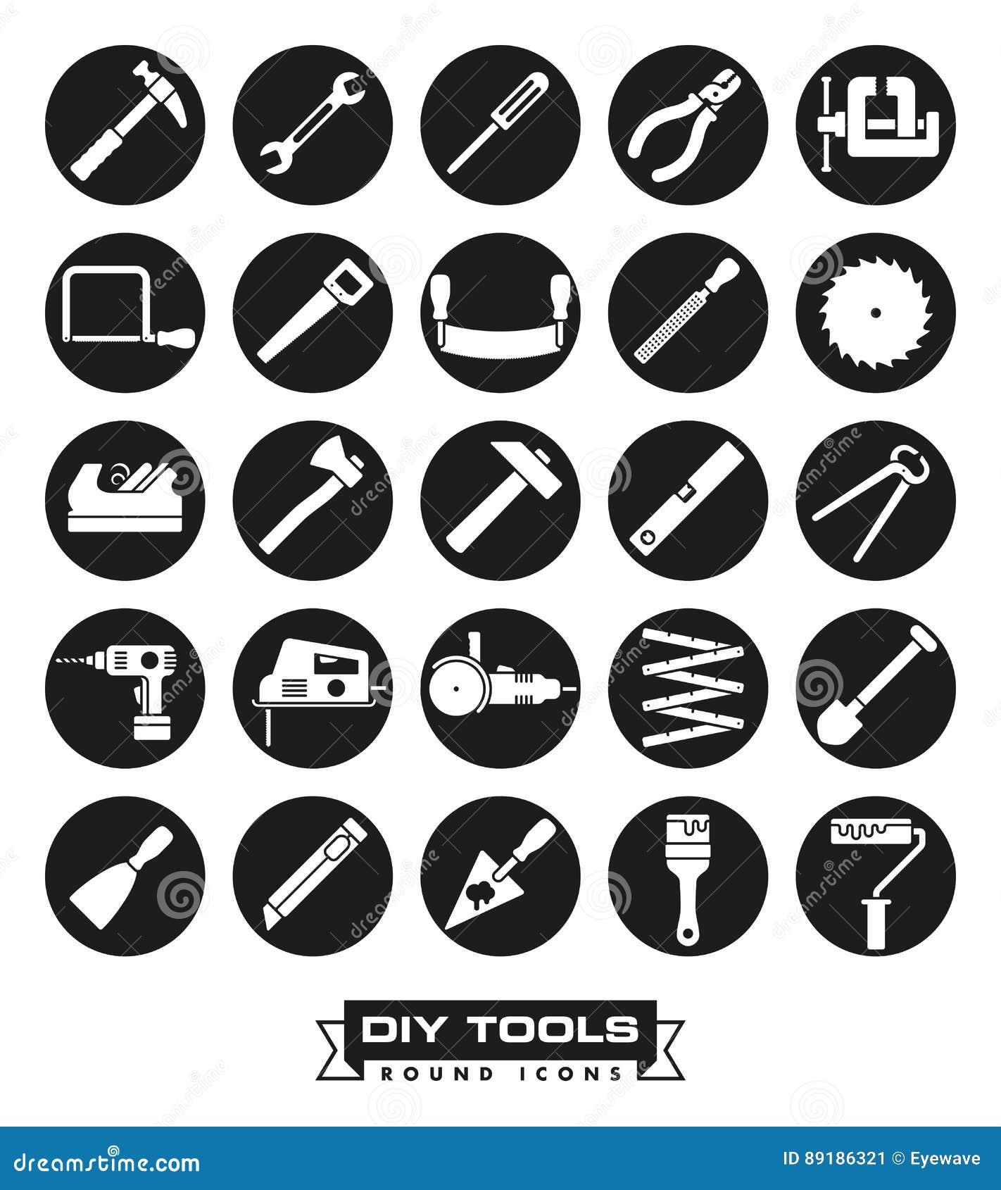 Grupo redondo do ícone das ferramentas de Carafting