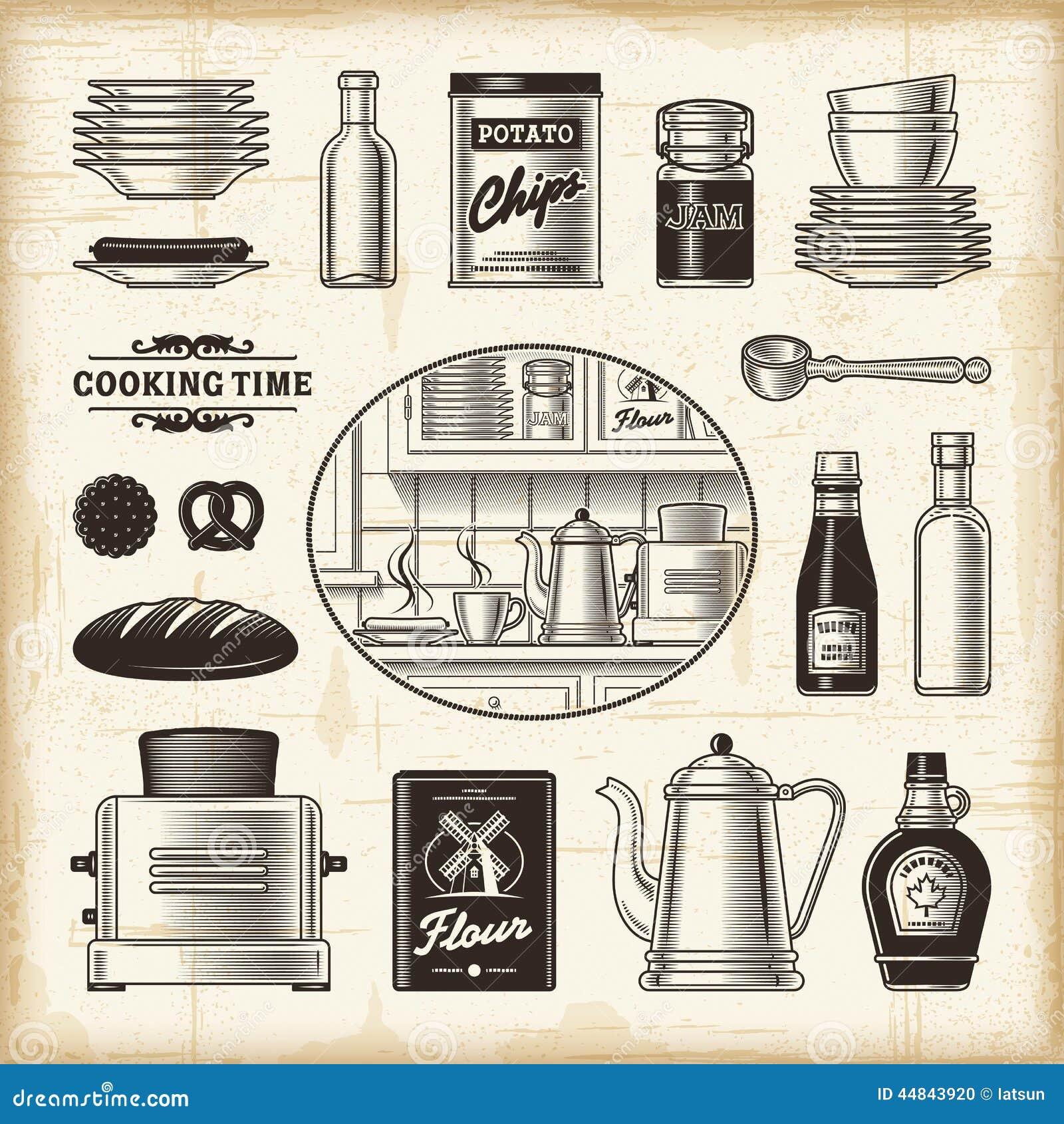 Grupo retro da cozinha
