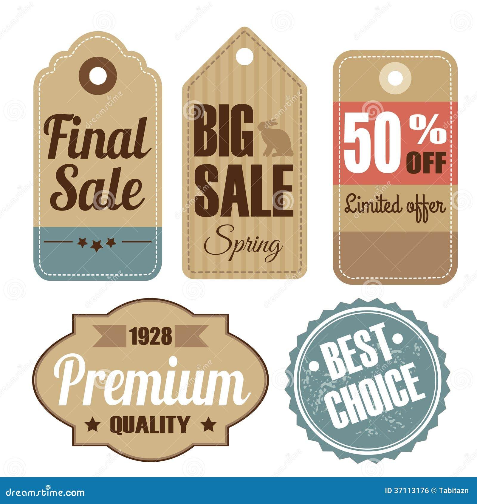 Grupo retro de etiquetas da venda e da qualidade do vintage, cartão