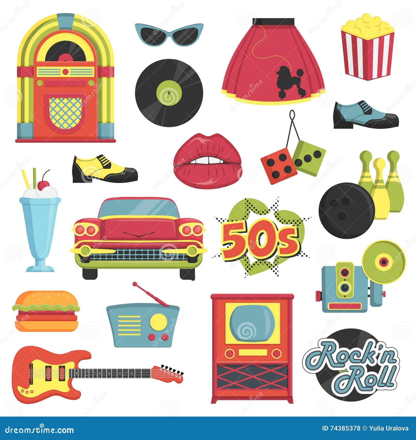 Grupo retro do artigo do estilo dos anos 50 do vintage