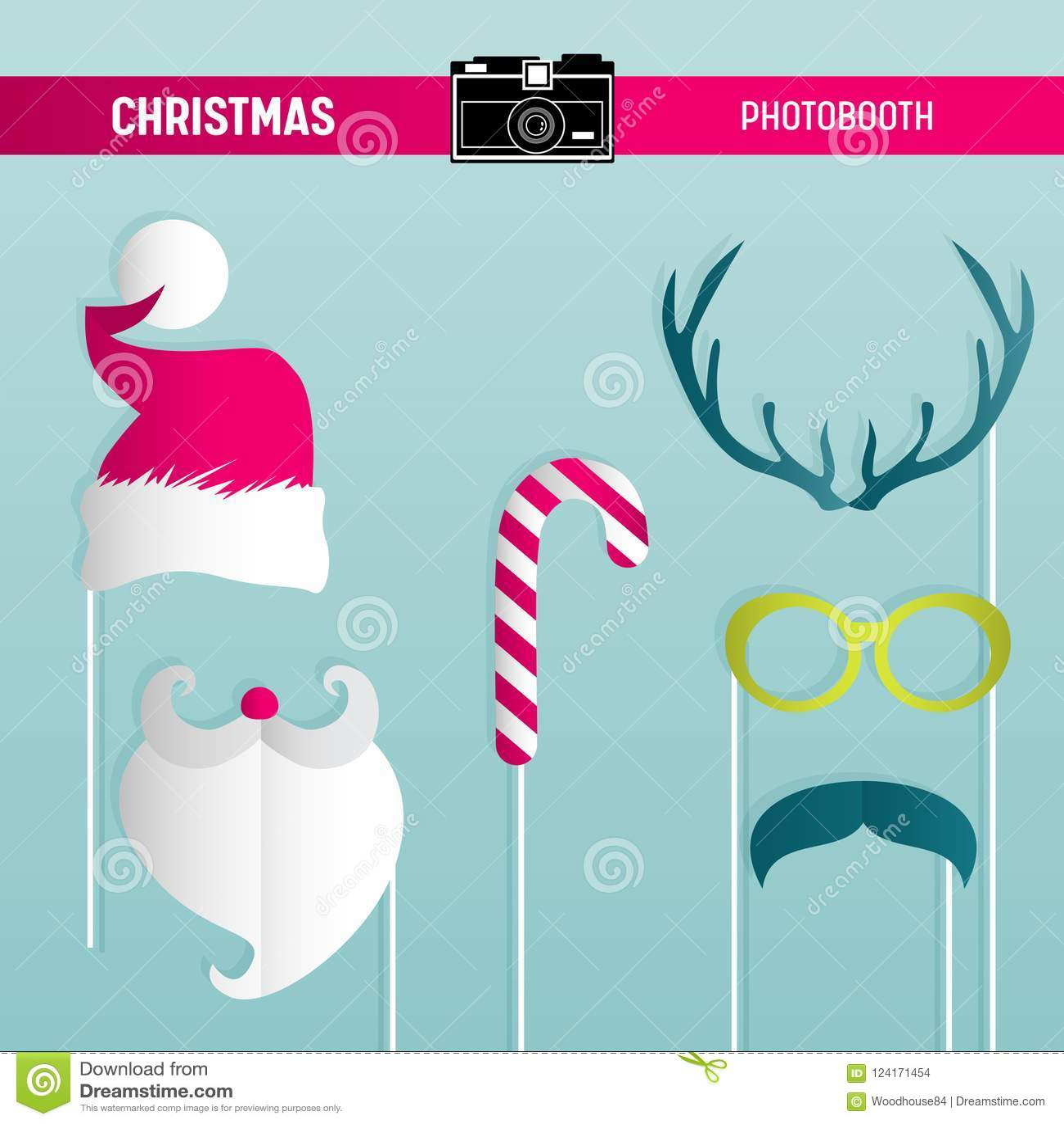 Grupo retro do partido do Natal de vidros, chapéus, bigodes, barba, máscaras para suportes do photobooth