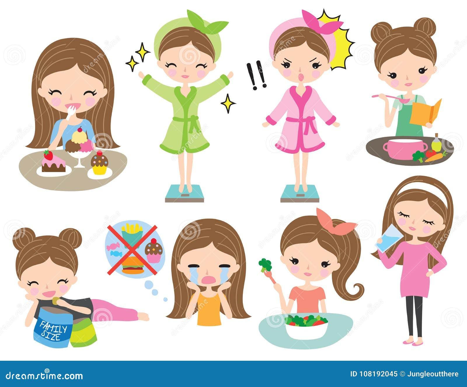 Grupo saudável da dieta da perda de peso da menina da mulher