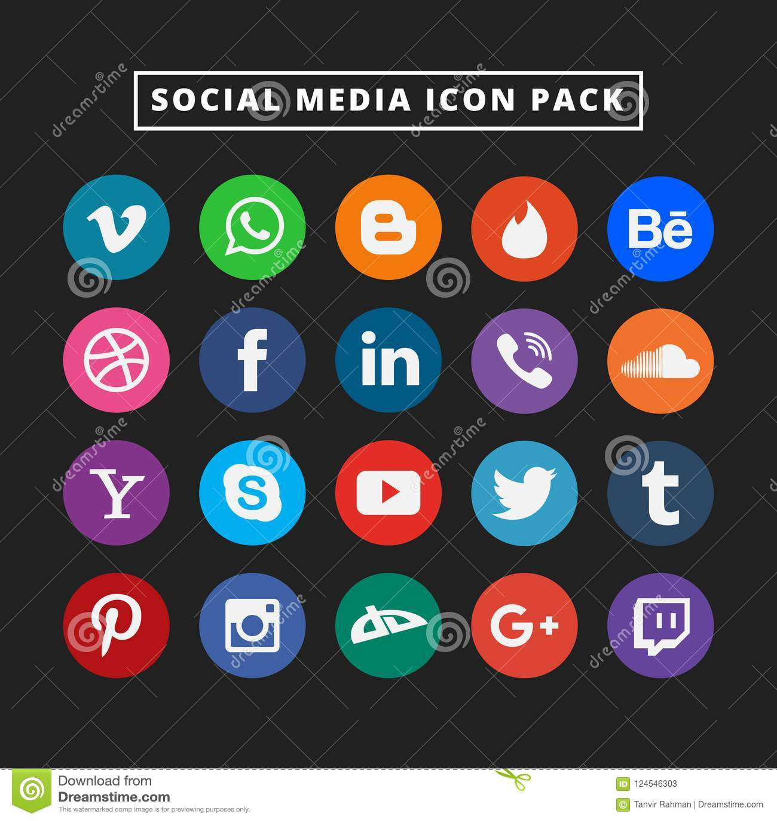 Grupo social colorido do ícone dos meios Ícone liso do projeto do vetor para a Web Ilustração surpreendente