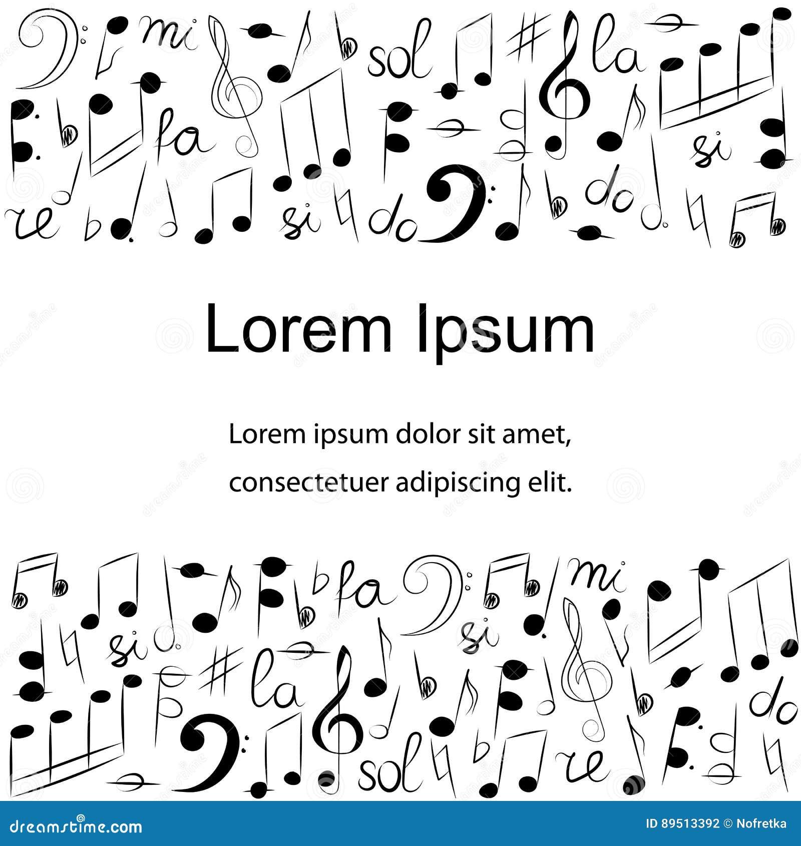 Grupo Tirado Mão De Símbolos De Música Clave De Sol, Bass Clef, Notas E  Lira Da Garatuja Molde Com Lugar Para O Texto No Centro Ilustração do Vetor  - Ilustração de notas,