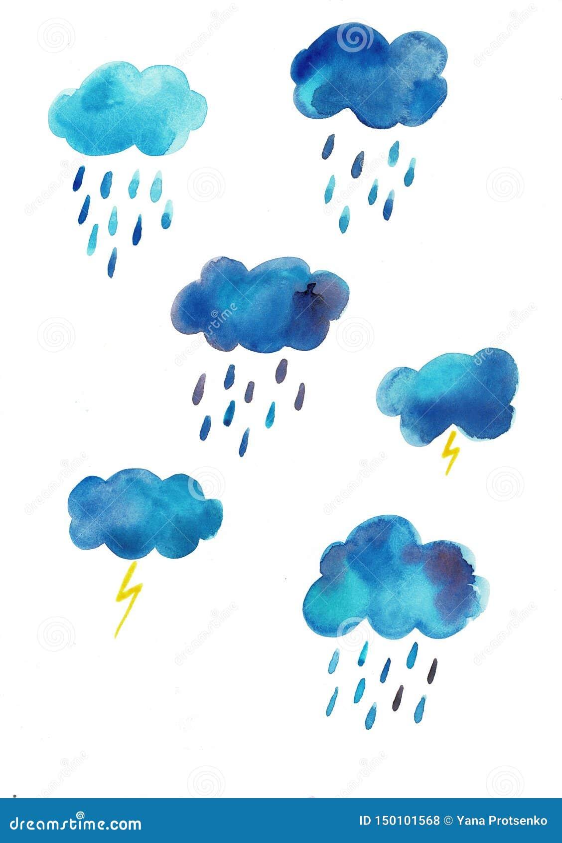 Grupo tirado mão do céu da aquarela de nuvens azuis e de gotas da chuva isolado no fundo branco