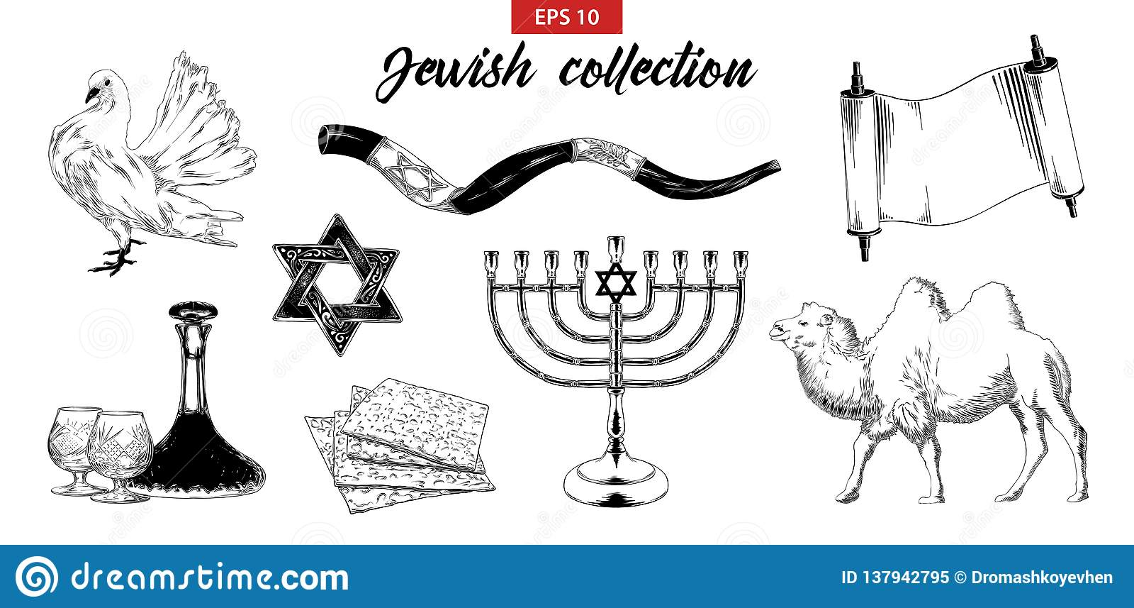 Grupo tirado mão do esboço de elementos judaicos isolados no fundo branco