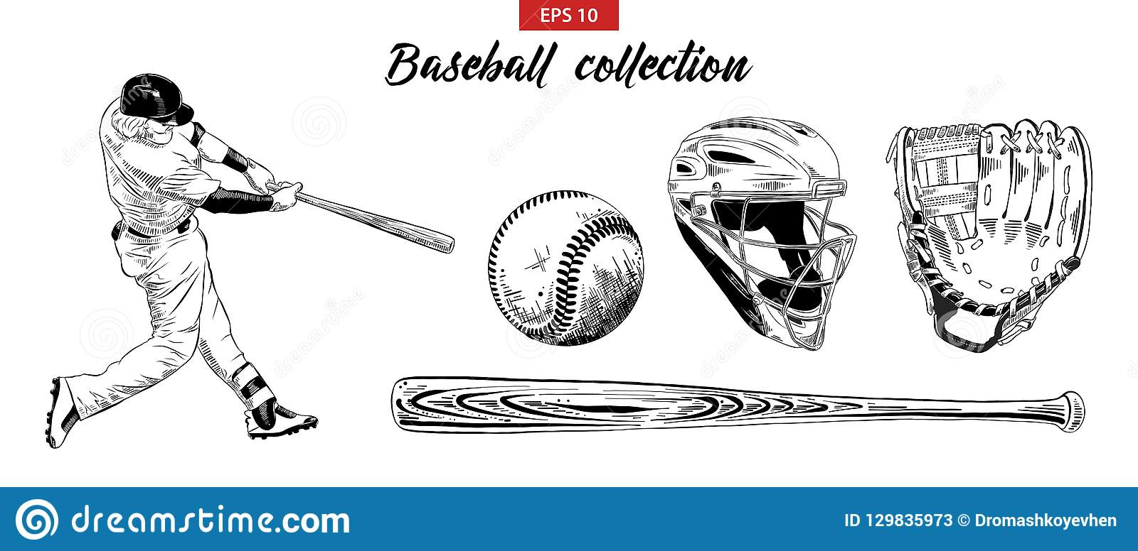 Grupo tirado mão do esboço de jogador de beisebol, de capacete, de luva, de bola e de bastão isolados no fundo branco Drawi detal