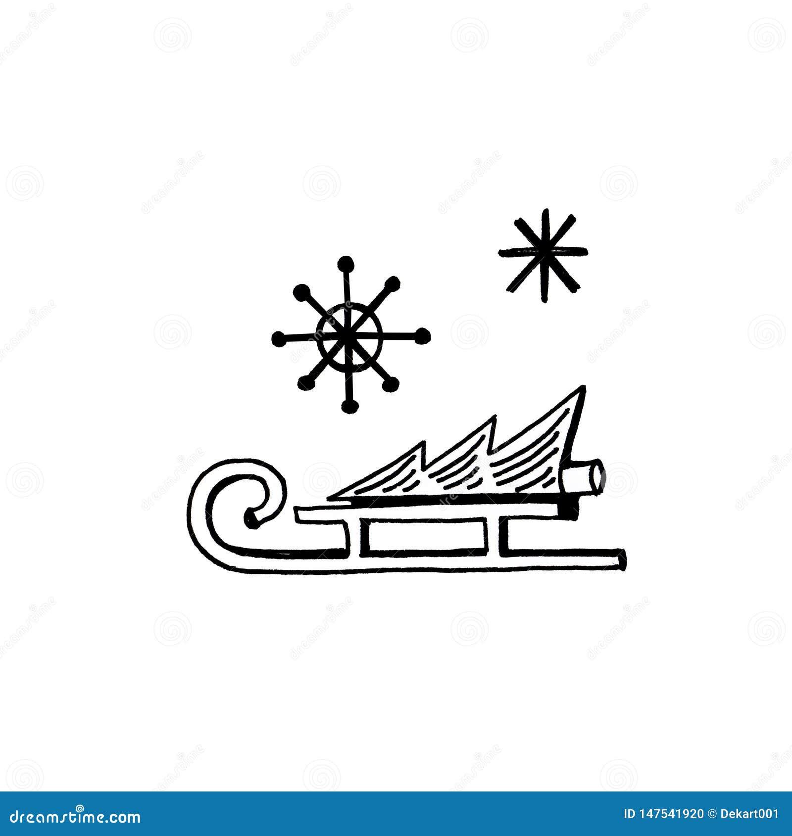 Grupo tirado m?o dos ?cones da garatuja do ano novo Trenó, árvore, flocos de neve no fundo branco