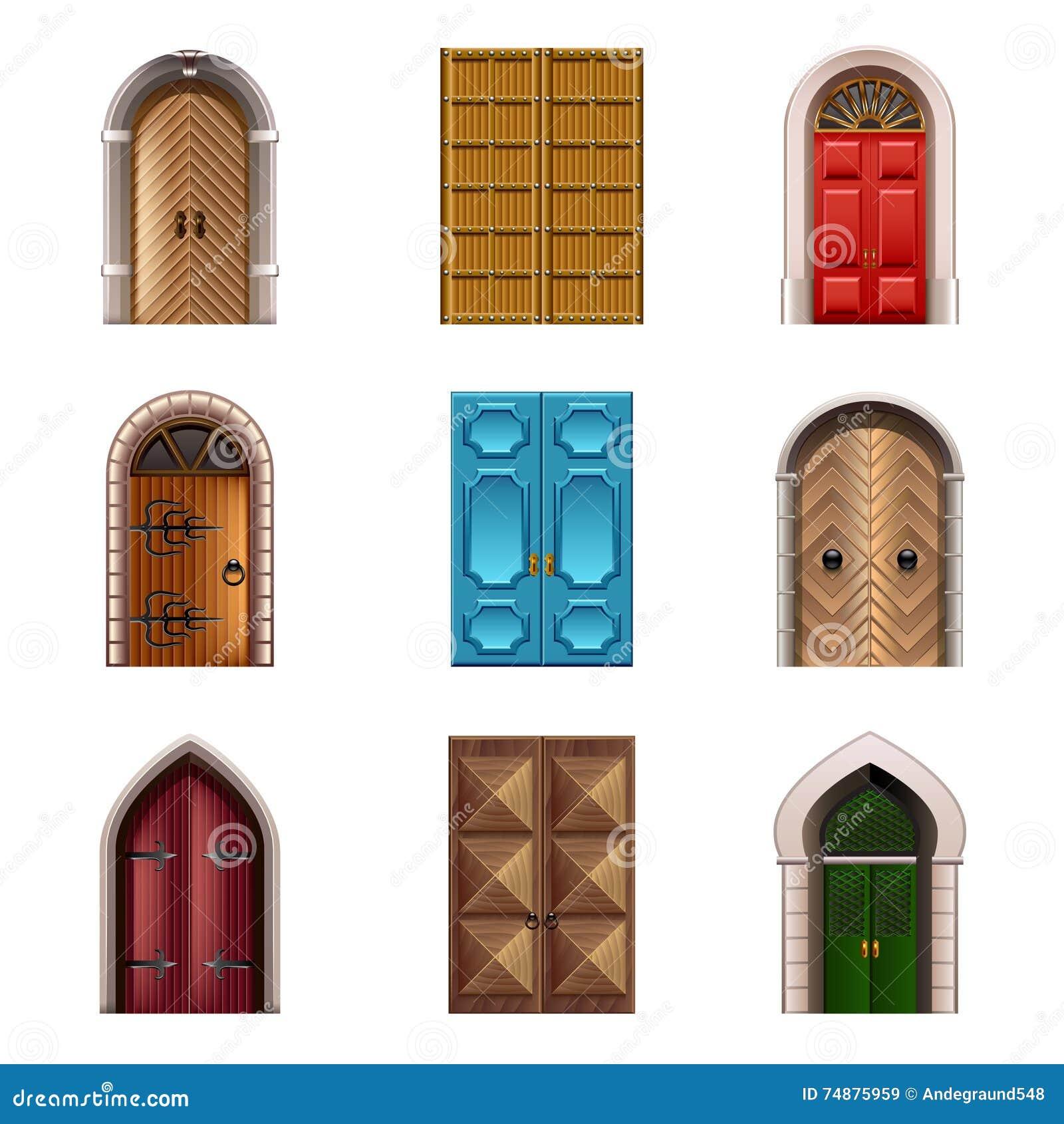 Grupo velho do vetor dos ícones das portas