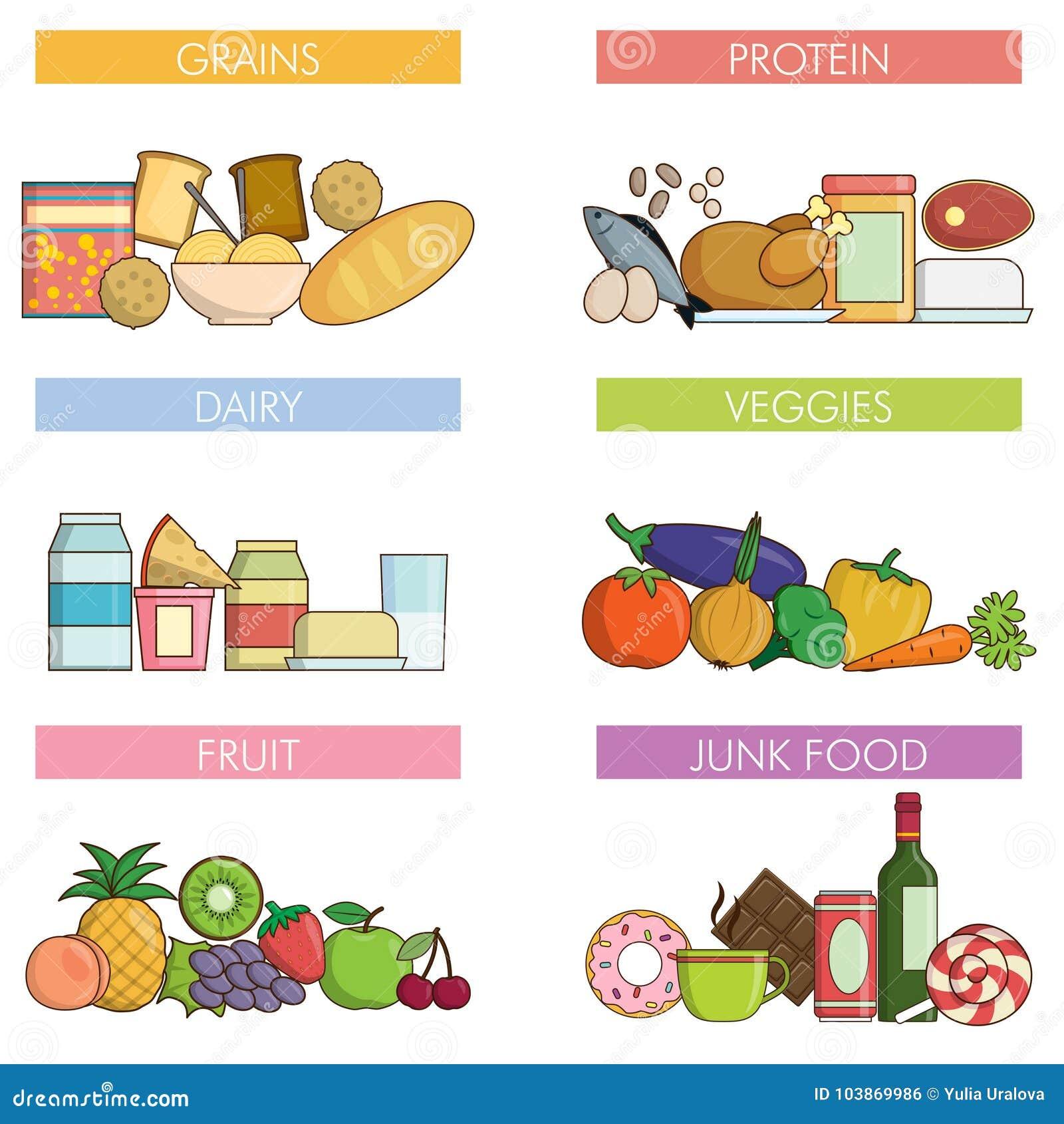 77a980dd6 Grupos Da Nutrição Do Alimento E Da Bebida Ilustração do Vetor ...
