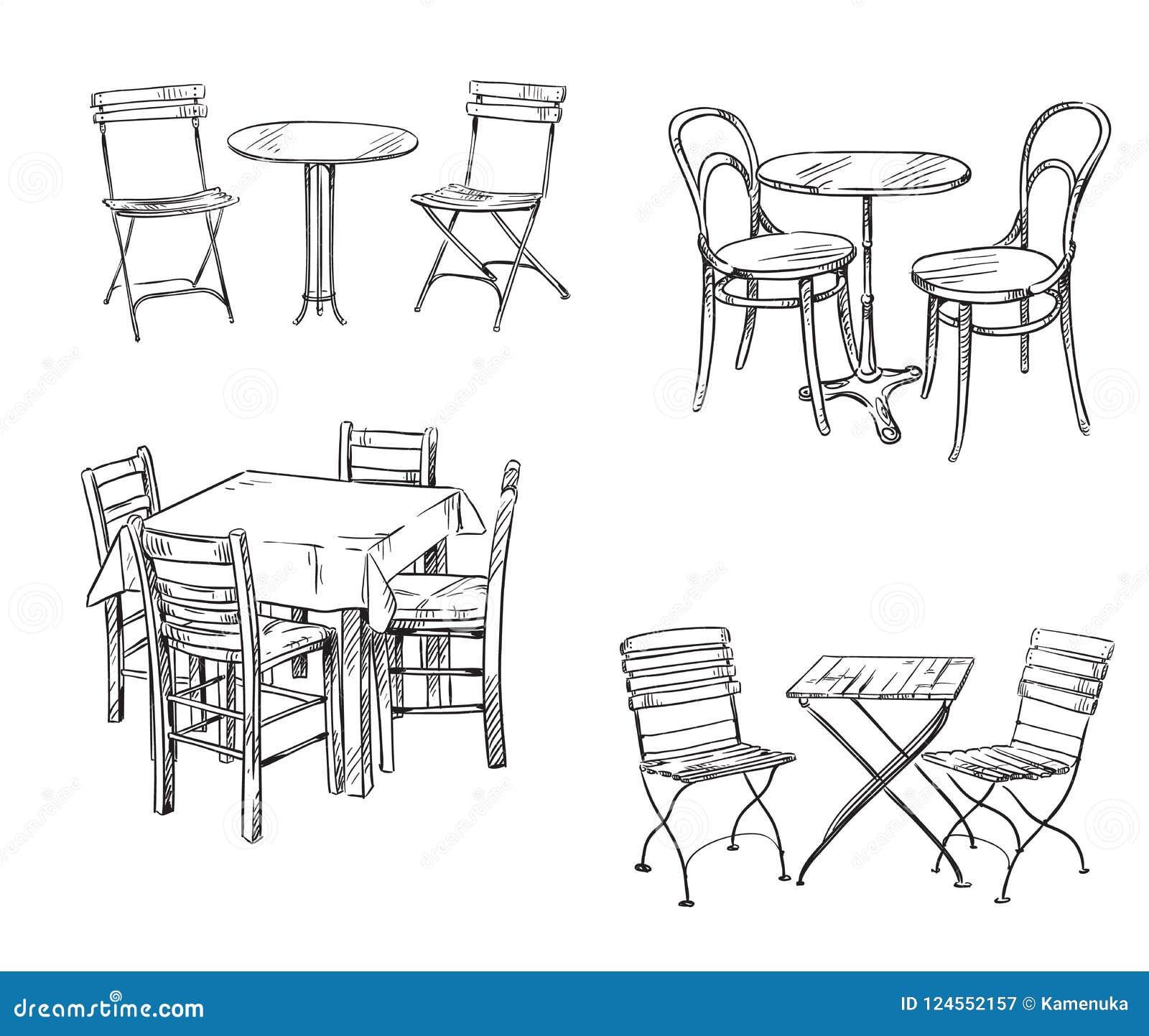 Grupos de tabelas e de cadeiras Esboço da mobília