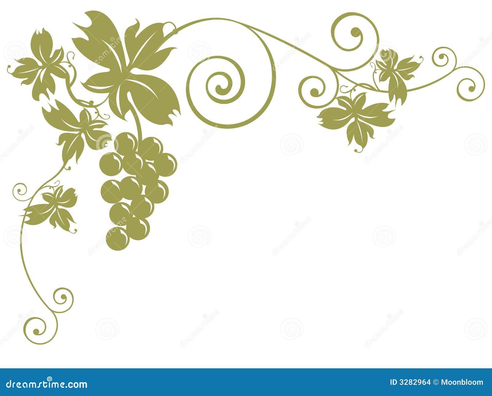 Grupos de uvas e de folhas