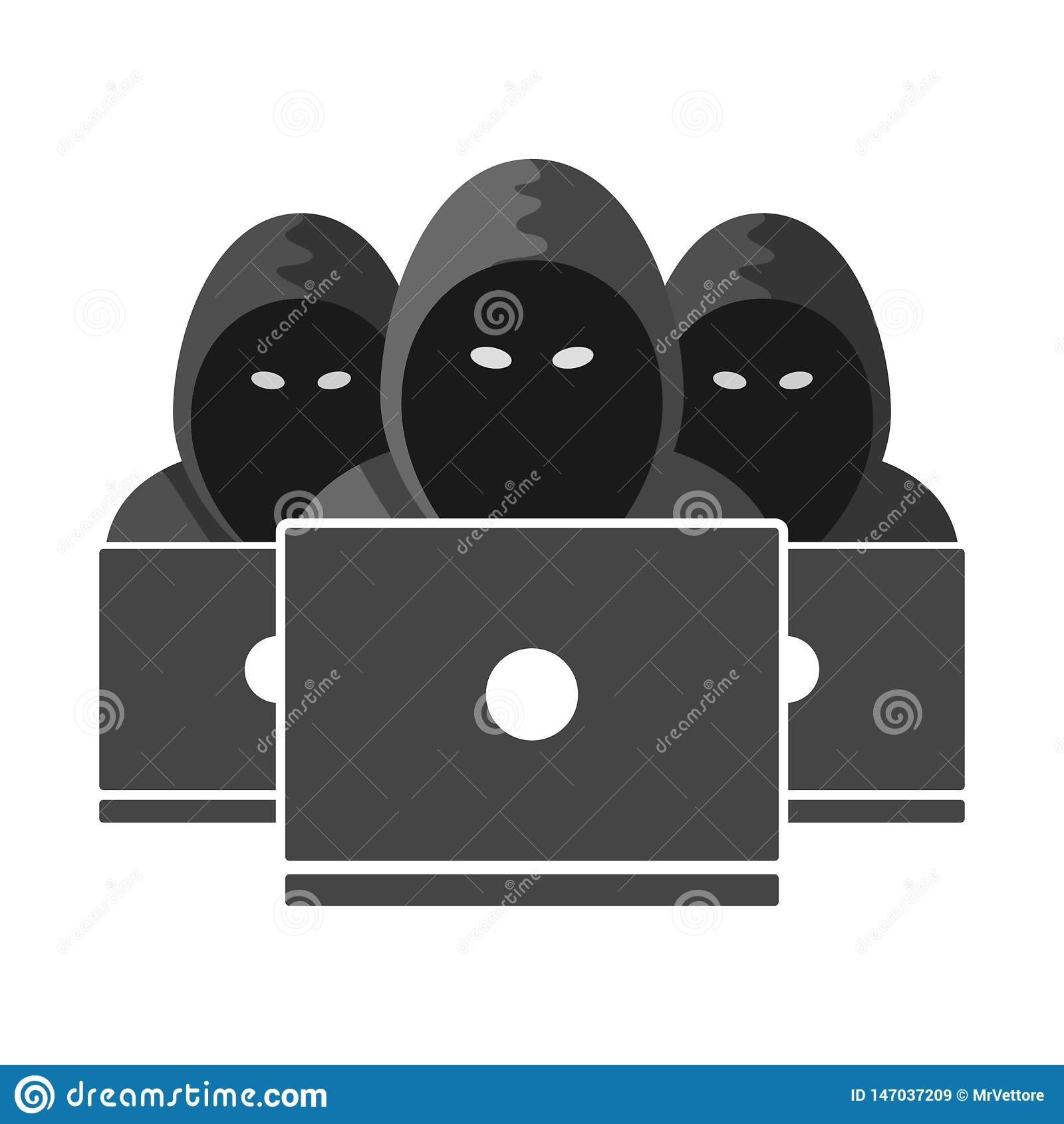Grupowa Niewiadoma hacker ikona Anonimowy osoba piktogram odizolowywający na białym tle Wektor szyldowa ilustracja