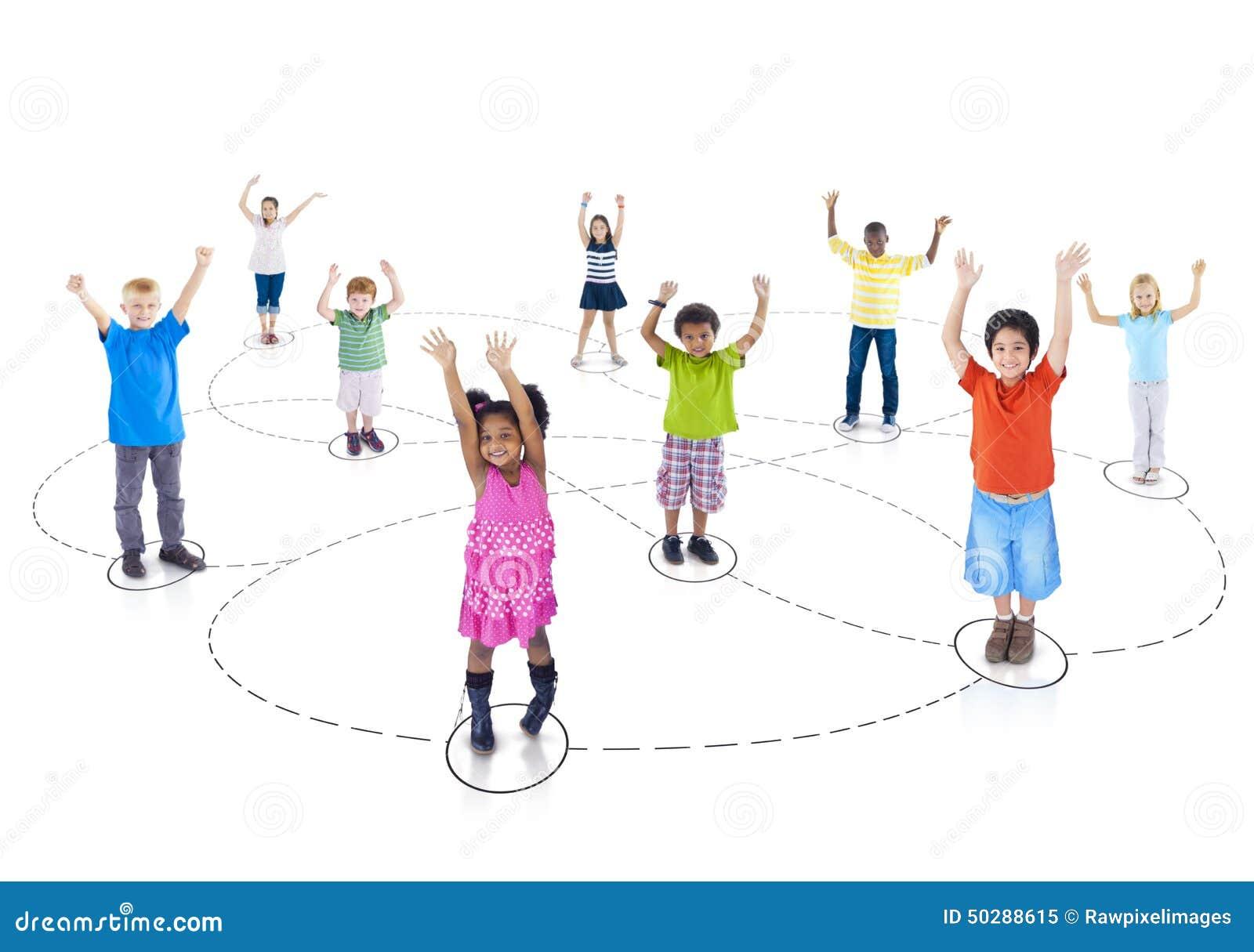 Grupowej dziecka dzieciństwa społeczności Radosny pojęcie