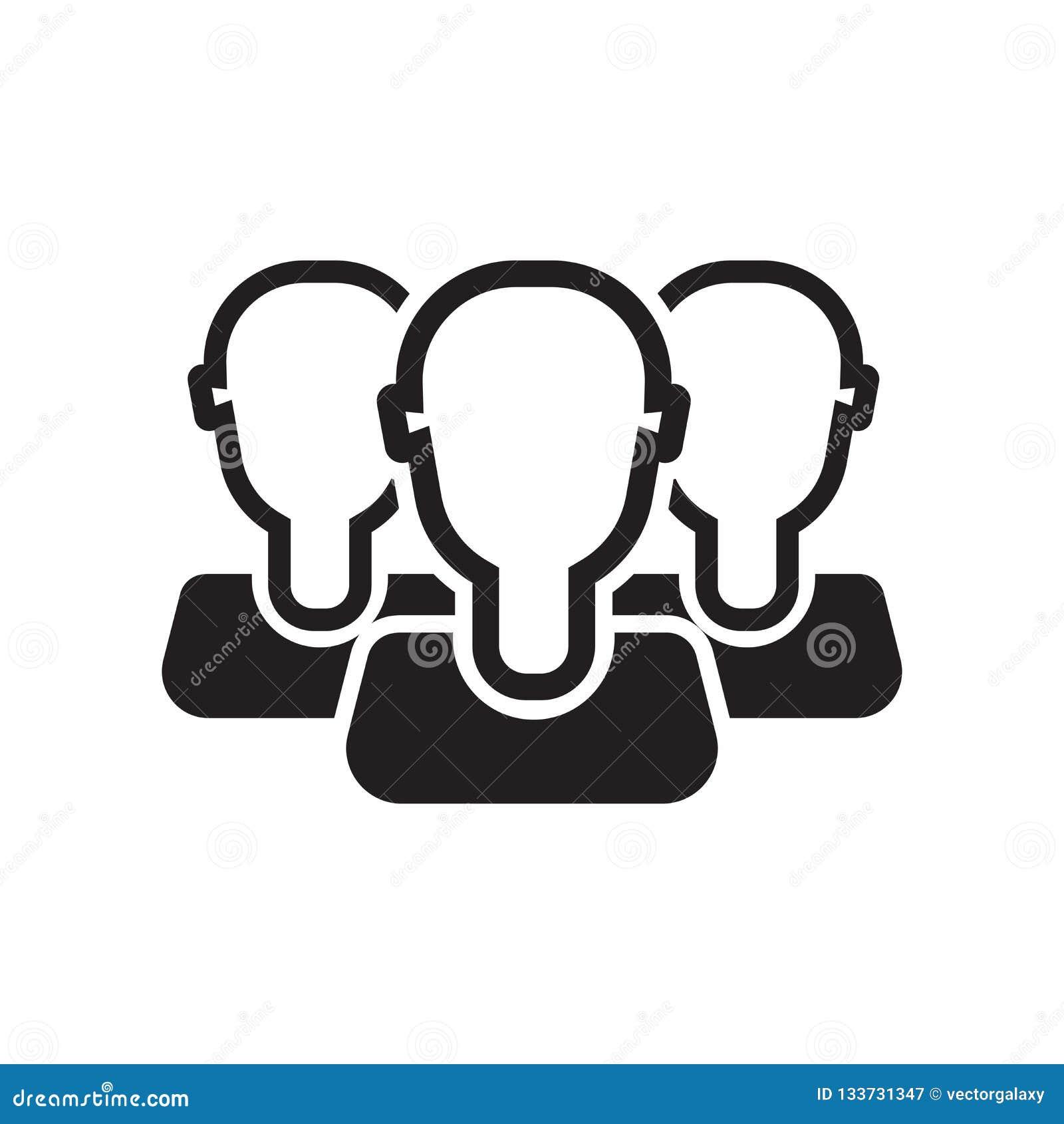 Grupowy Avatar ikony wektoru znak i symbol odizolowywający na białym tle, Grupowy Avatar logo pojęcie