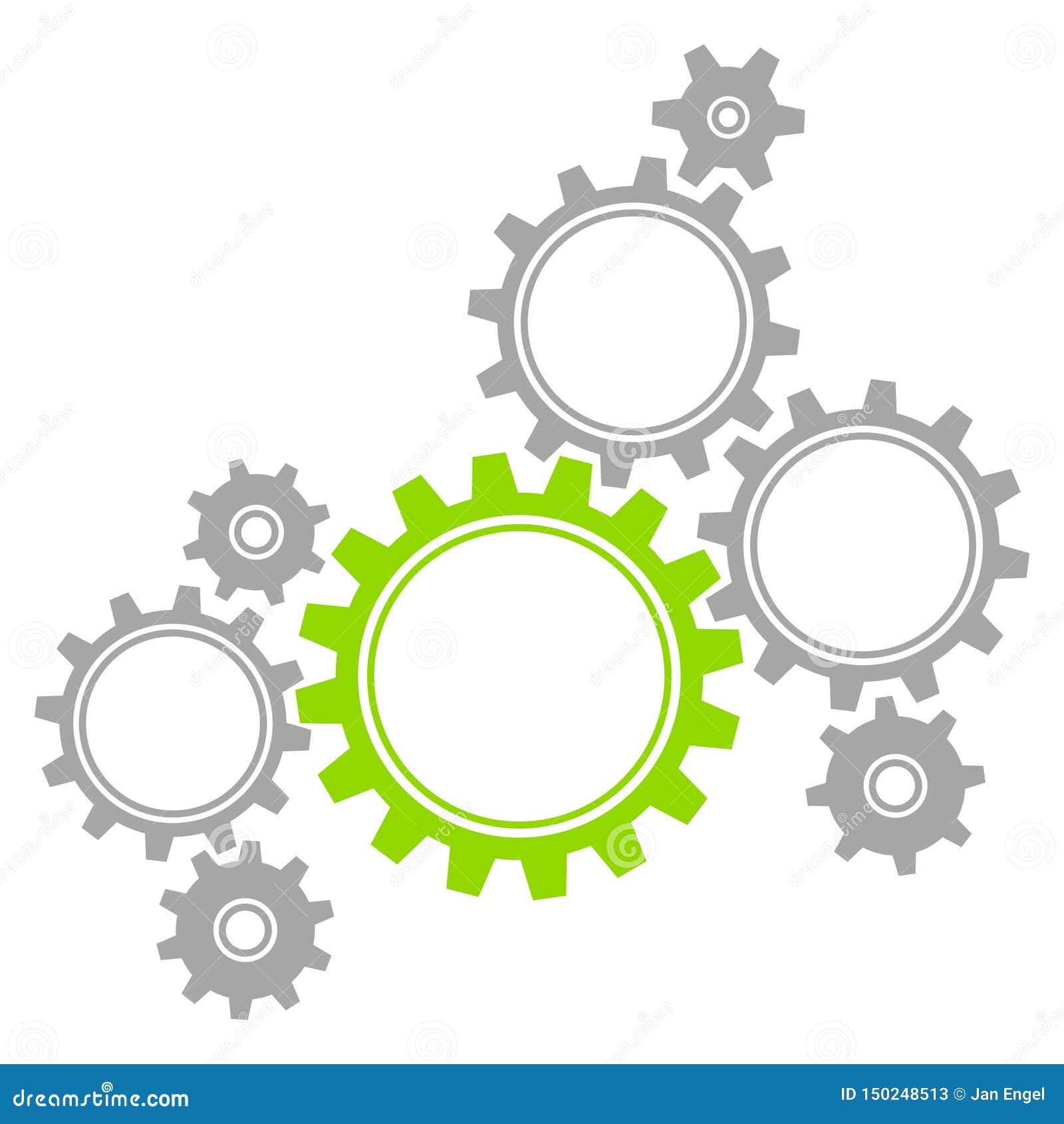 Grupp av åtta diagramkugghjul Gray And Green