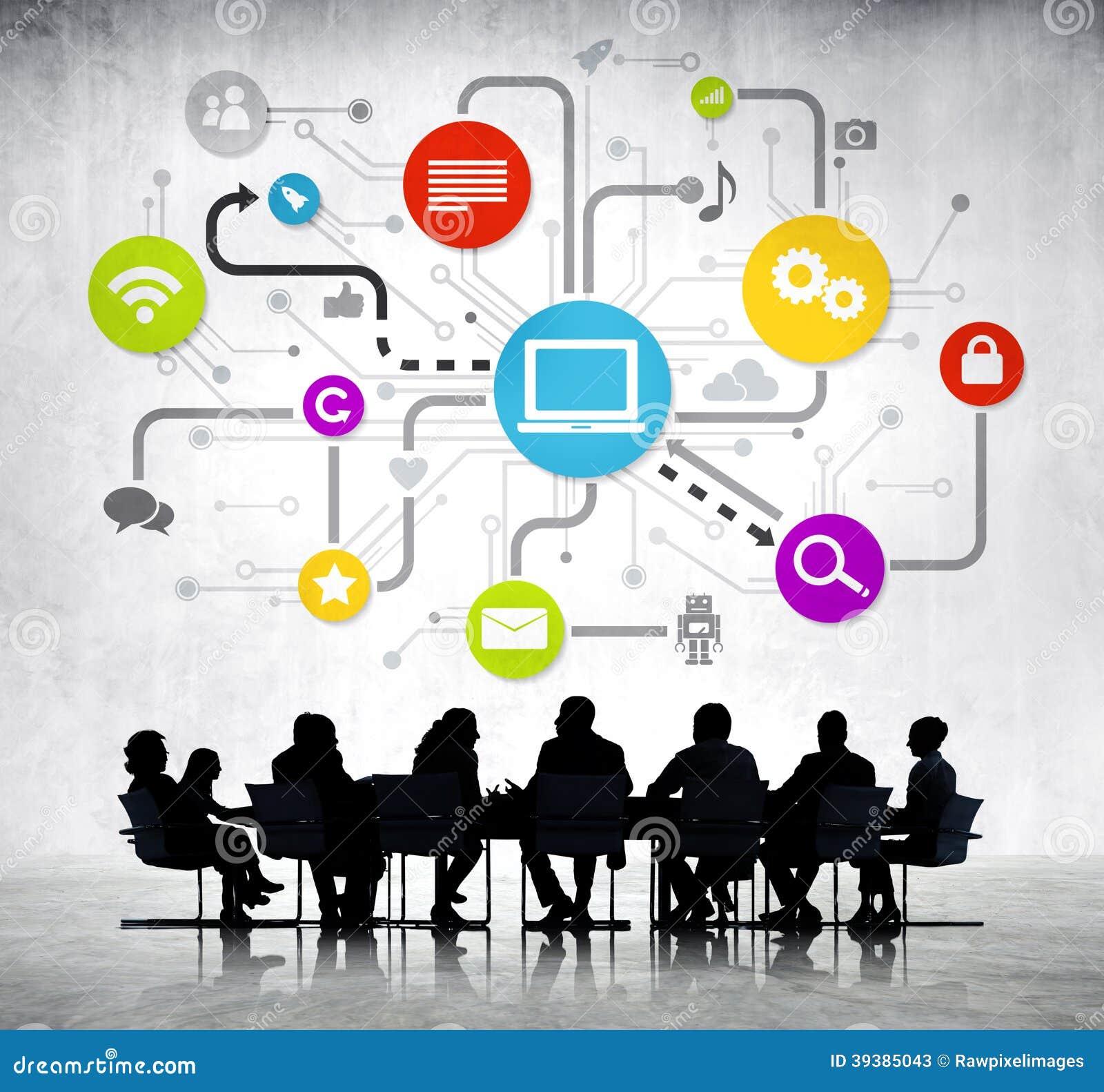Grupp av affärsfolk med global affär