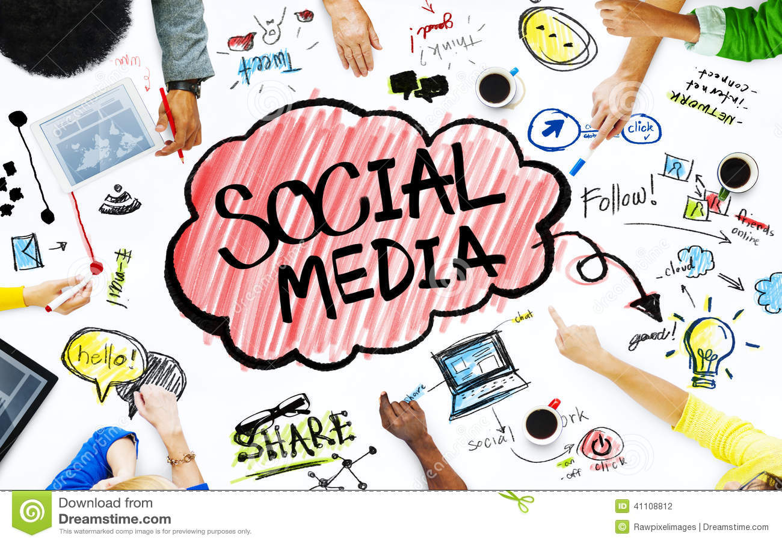 Grupp av affärsfolk med socialt massmediabegrepp