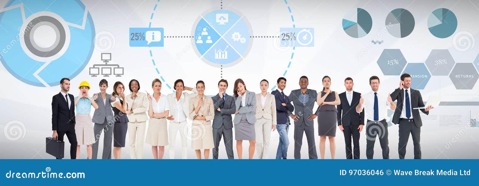 Grupp av affärsfolk som framme står av bakgrund för statistikkapacitetsdiagram