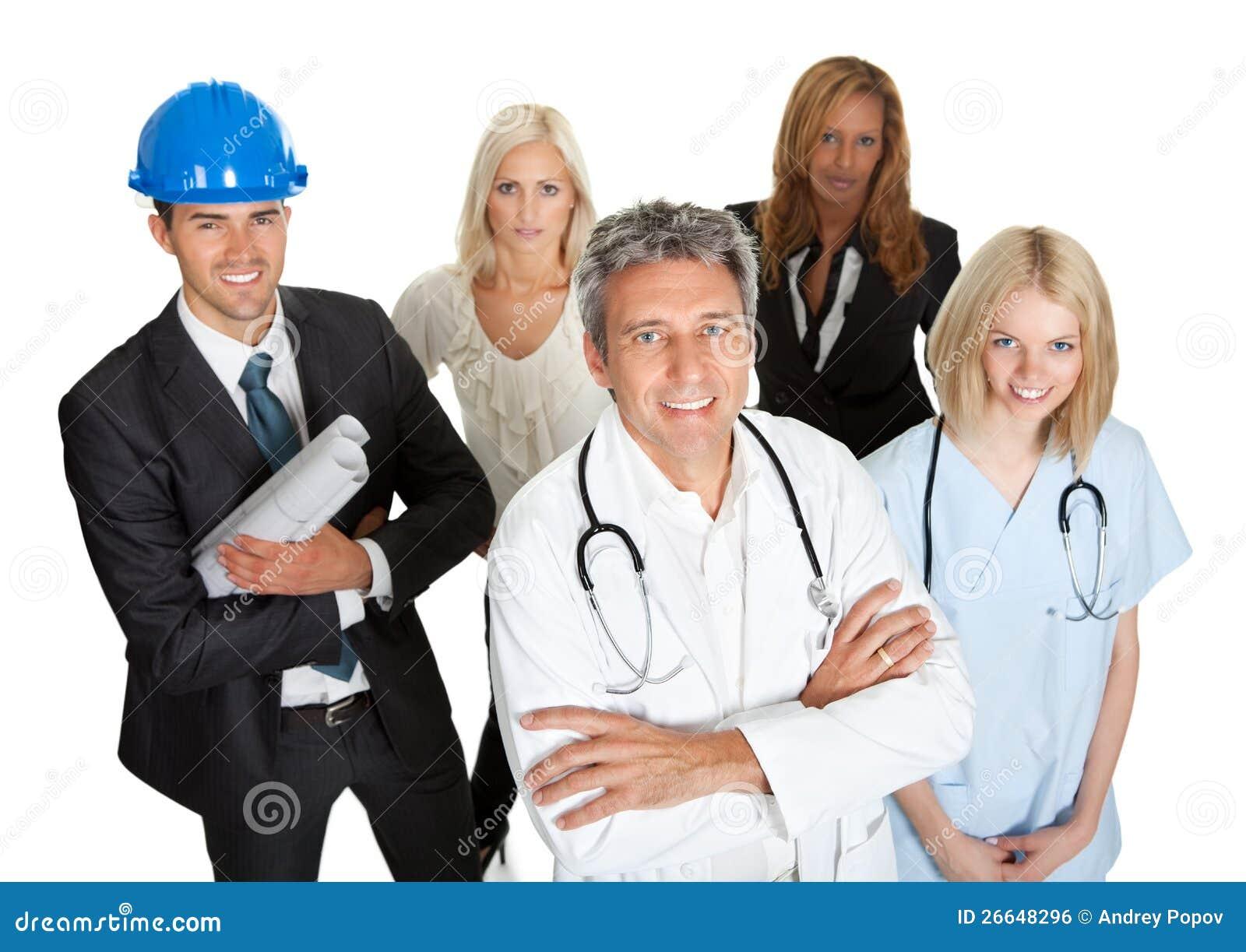 Grupp av affärsfolk som isoleras på white