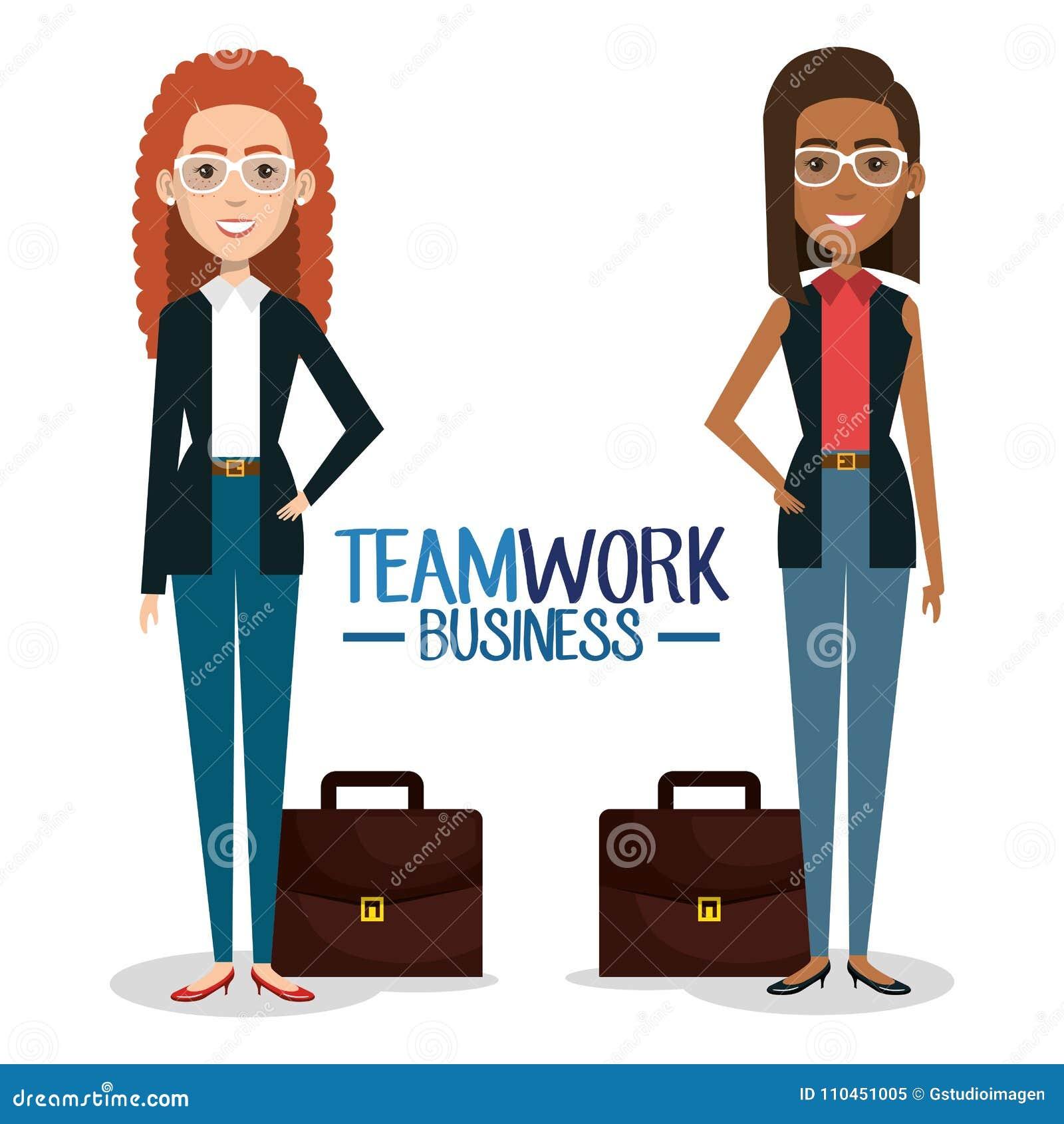 Grupp av affärskvinnan med portföljteamwork