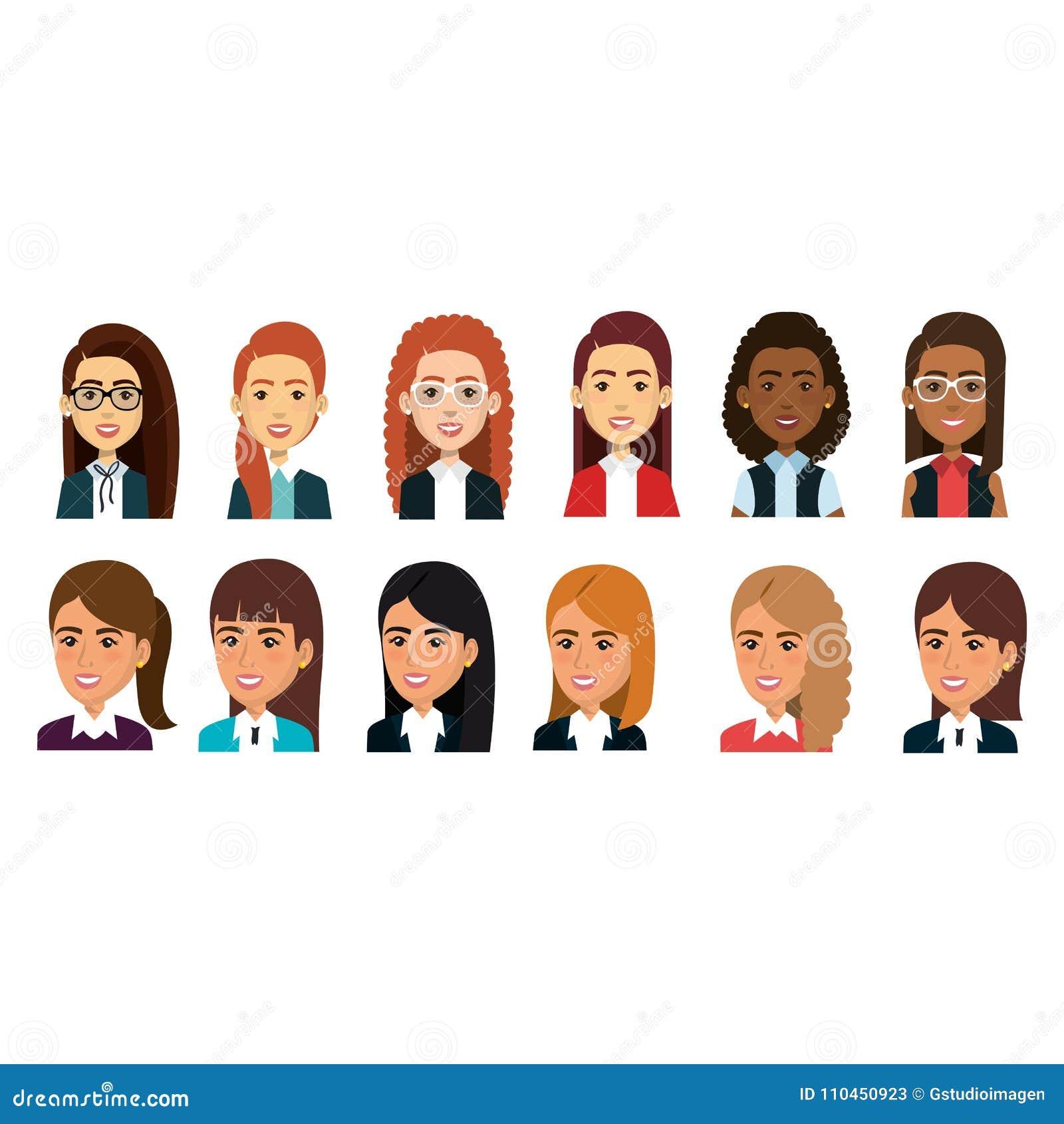 Grupp av affärskvinnateamwork