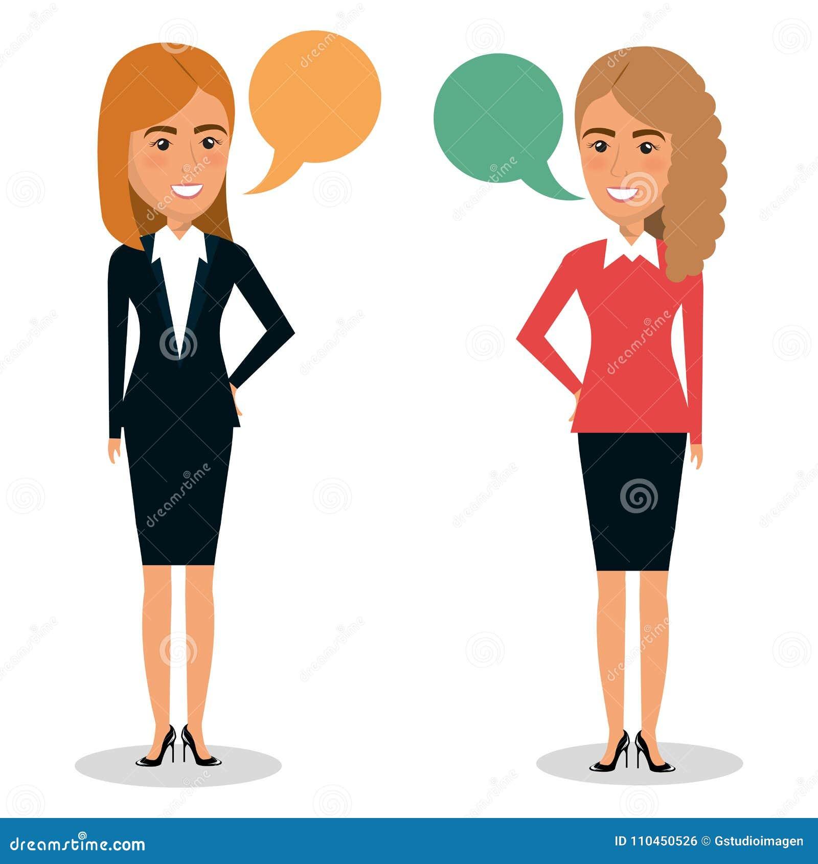 Grupp av affärskvinnateamwork med anförandebubblor