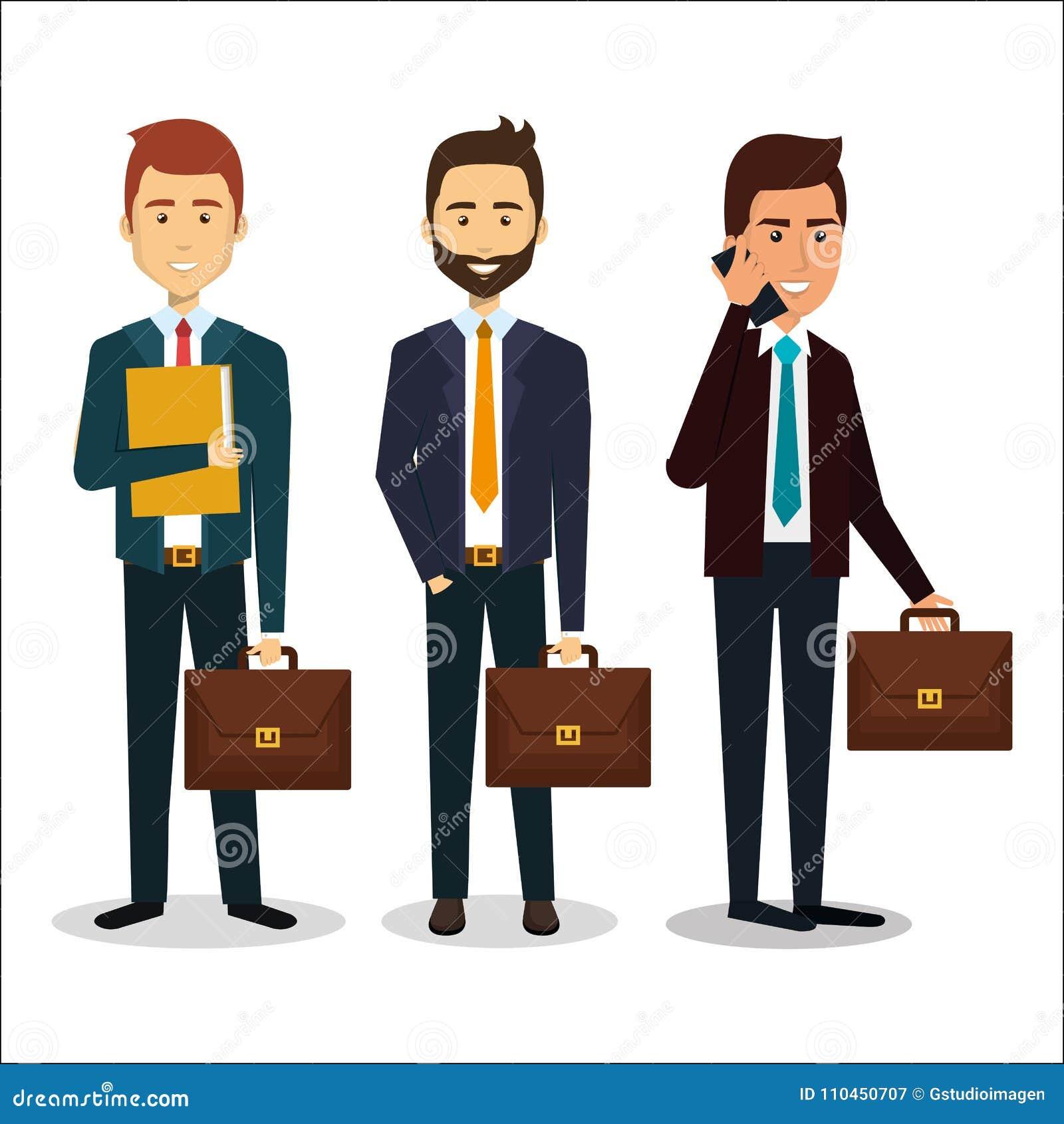Grupp av affärsmanteamwork med portföljen