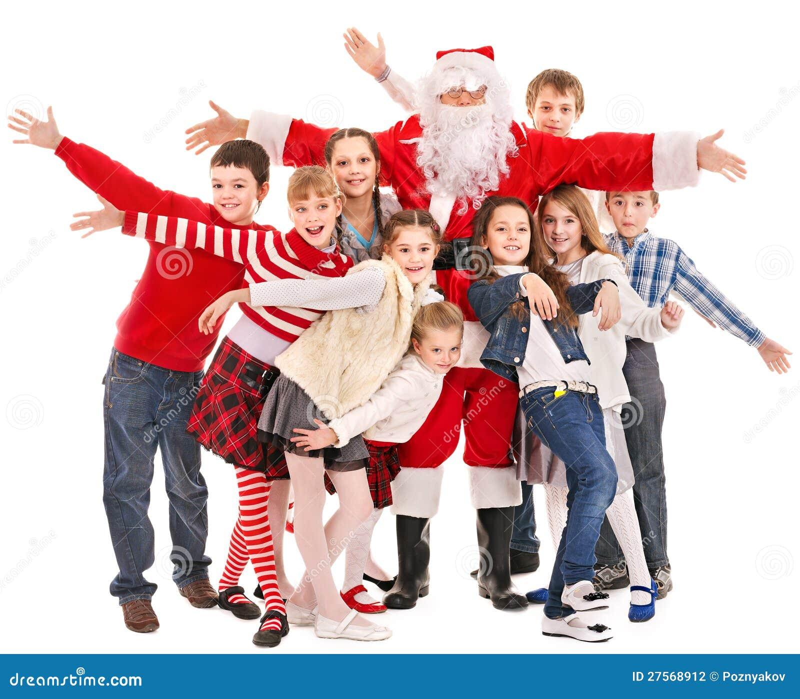 Grupp av barn med Santa Claus.