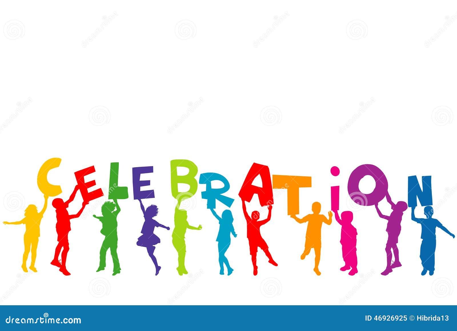 Grupp av barnkonturer som rymmer bokstäver med ordet CELEBRAT