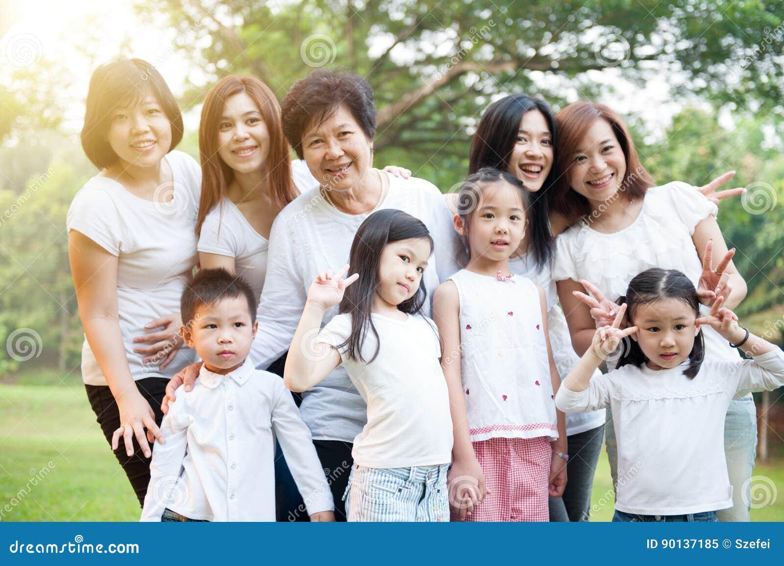Grupp av den asiatiska mång- utvecklingsfamiljen utomhus