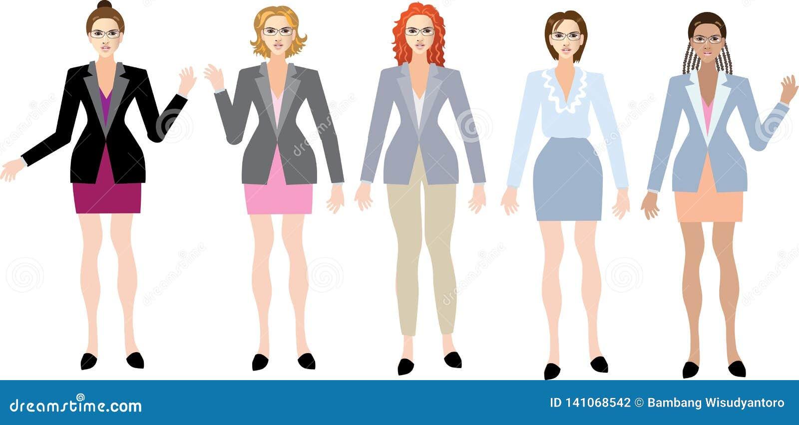 Grupp av den utövande härliga affärskvinnan som står Front View - vektorillustration
