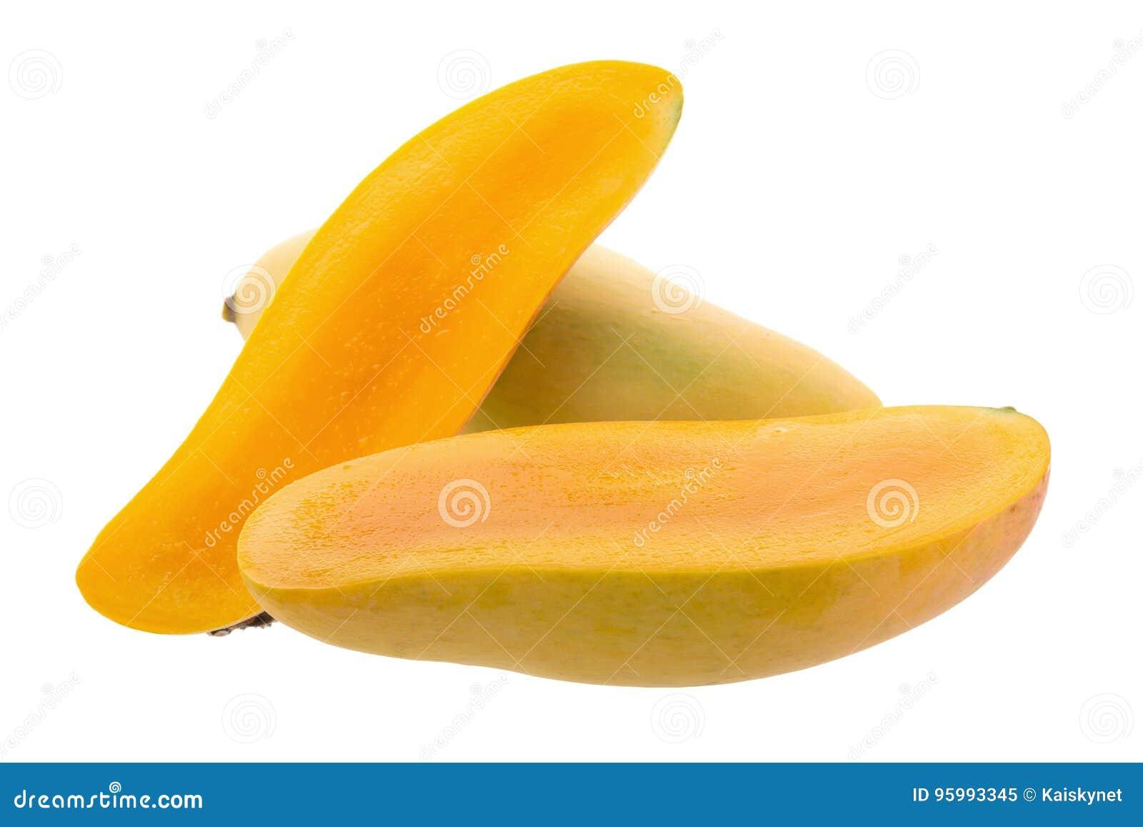 Grupp av frukt för sötsakgulingmango som isoleras på vit bakgrund