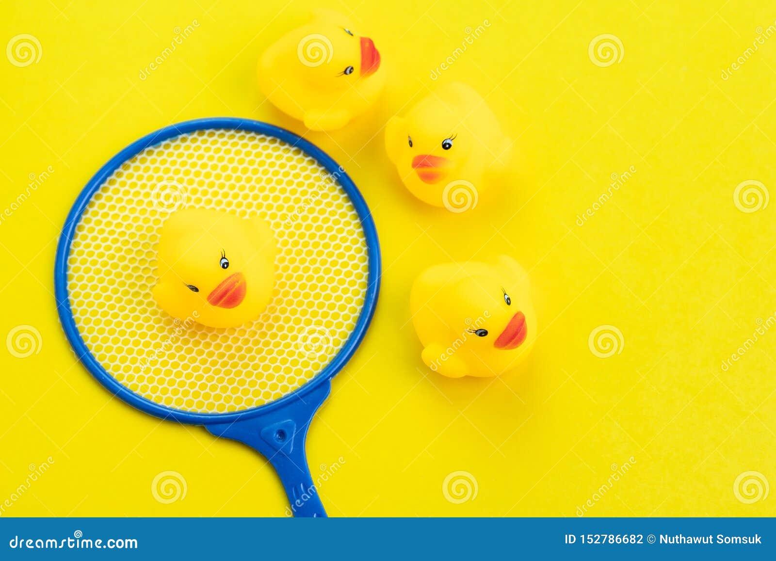 Grupp av gula gulliga gummiänder med vald i gullig liten håv på fast gul bakgrund genom att använda som sökande eller