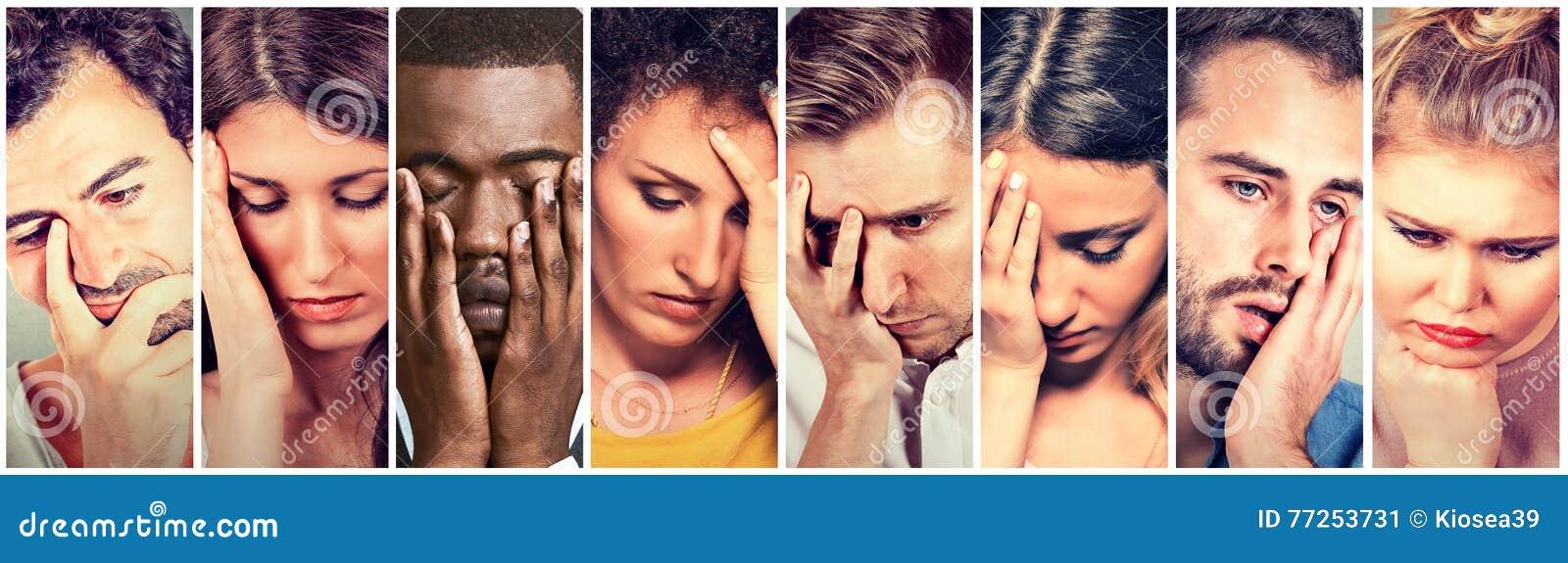 Grupp av ledset deprimerat folk Olyckliga mankvinnor