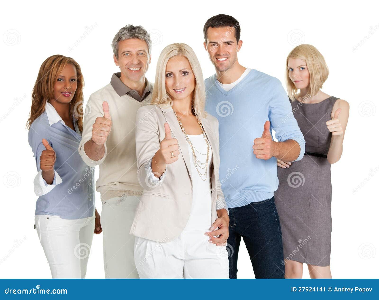 Grupp av lyckligt affärsfolk