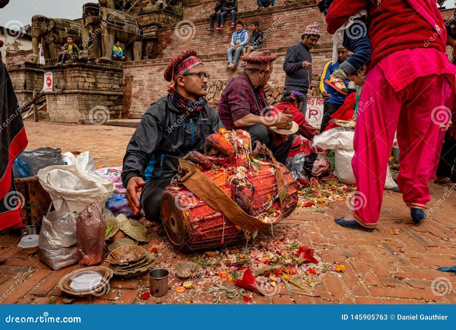 Grupp av nepalese musiker