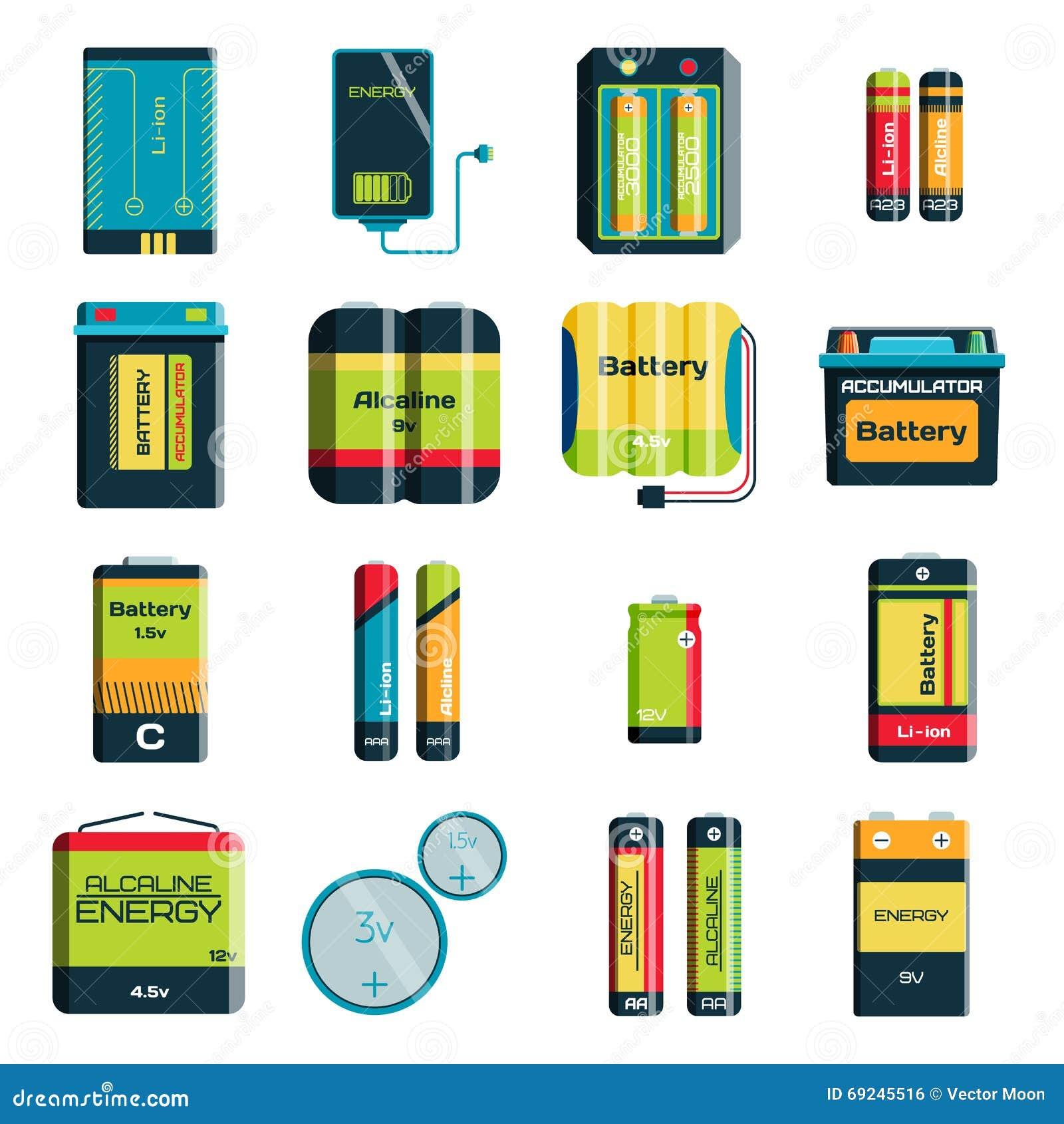 Grupp av olika symboler för vektor för teknologi för laddning för elektricitet för formatfärgbatterier