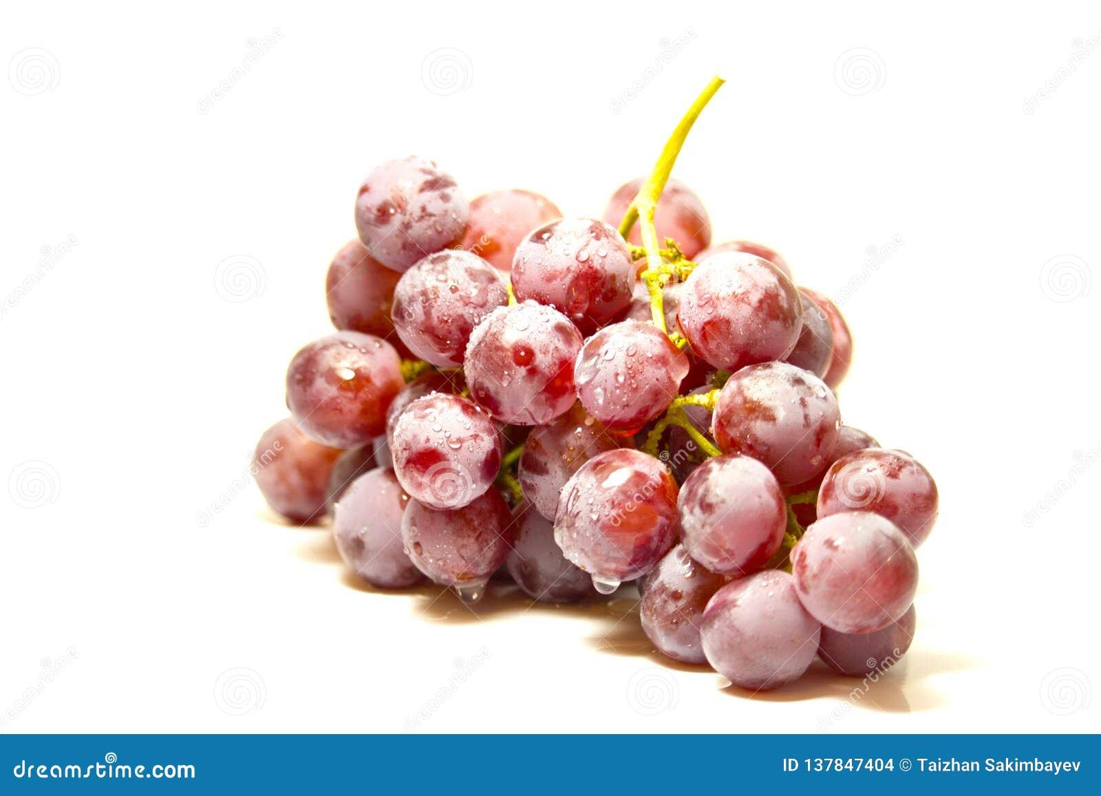 Grupp av röda druvor som täckas med fruktvaxet som isoleras på vit bakgrund