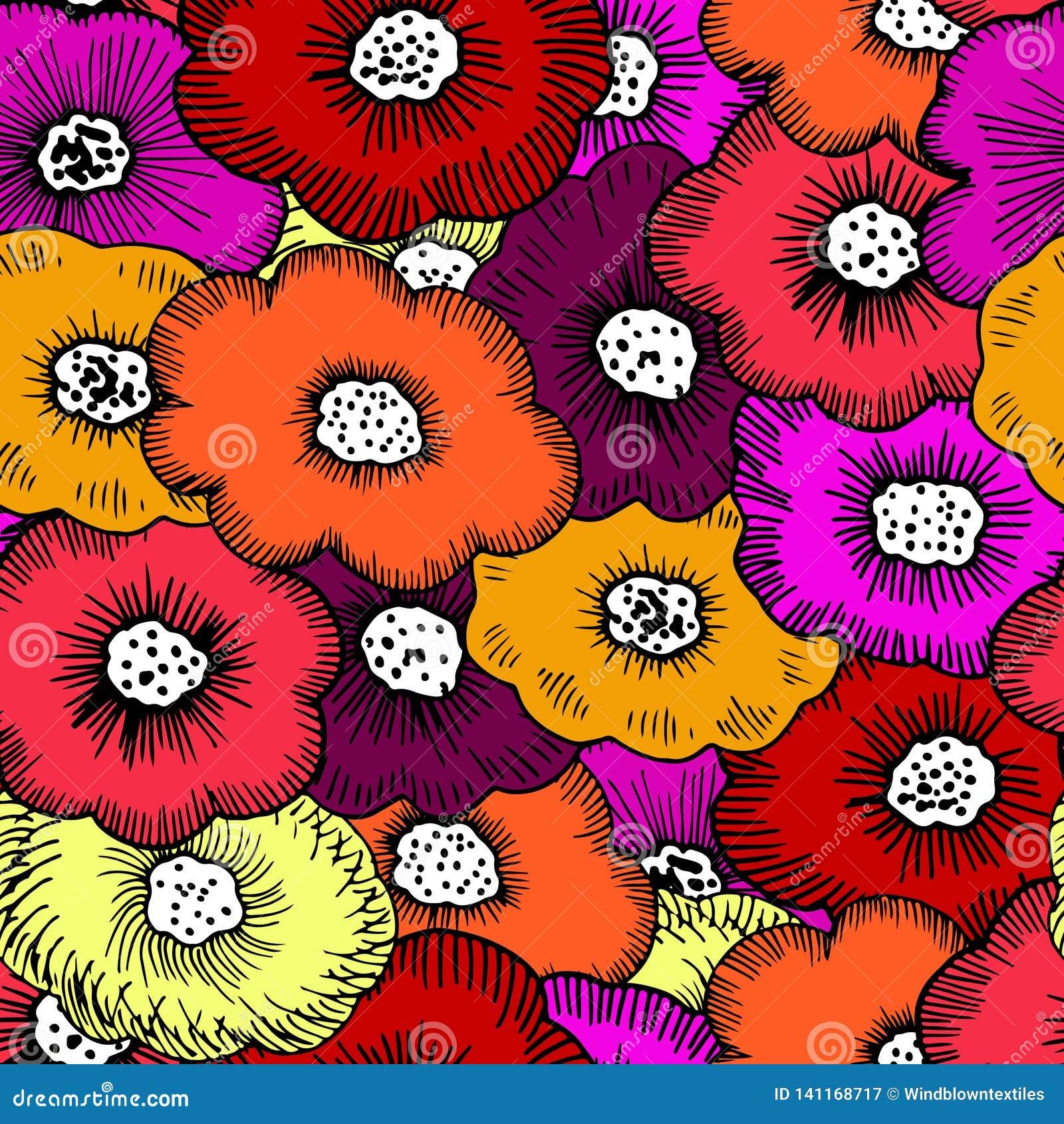 Grupp av skraj blom-