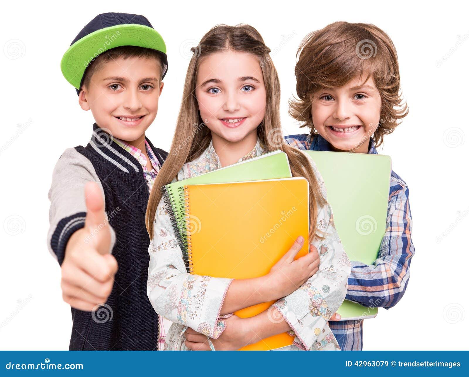 Grupp av små studenter