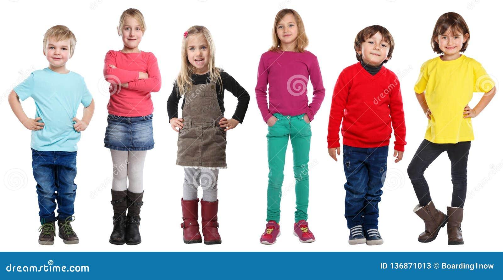Grupp av ståenden för kropp för flickor för ungebarnpyser som den fulla isoleras på vit